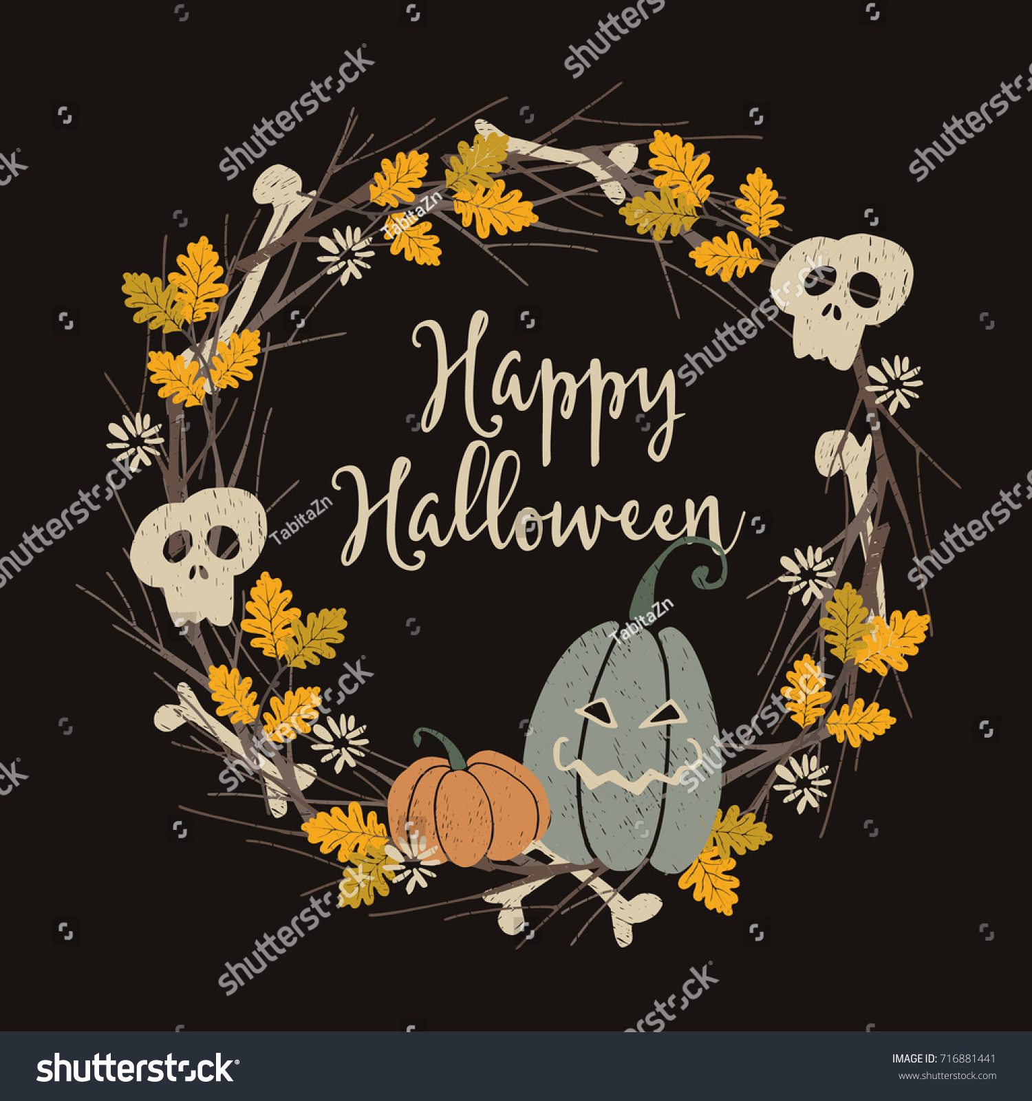 Hand Drawn Vintage Halloween Party Greeting Stock Vector 716881441 ...