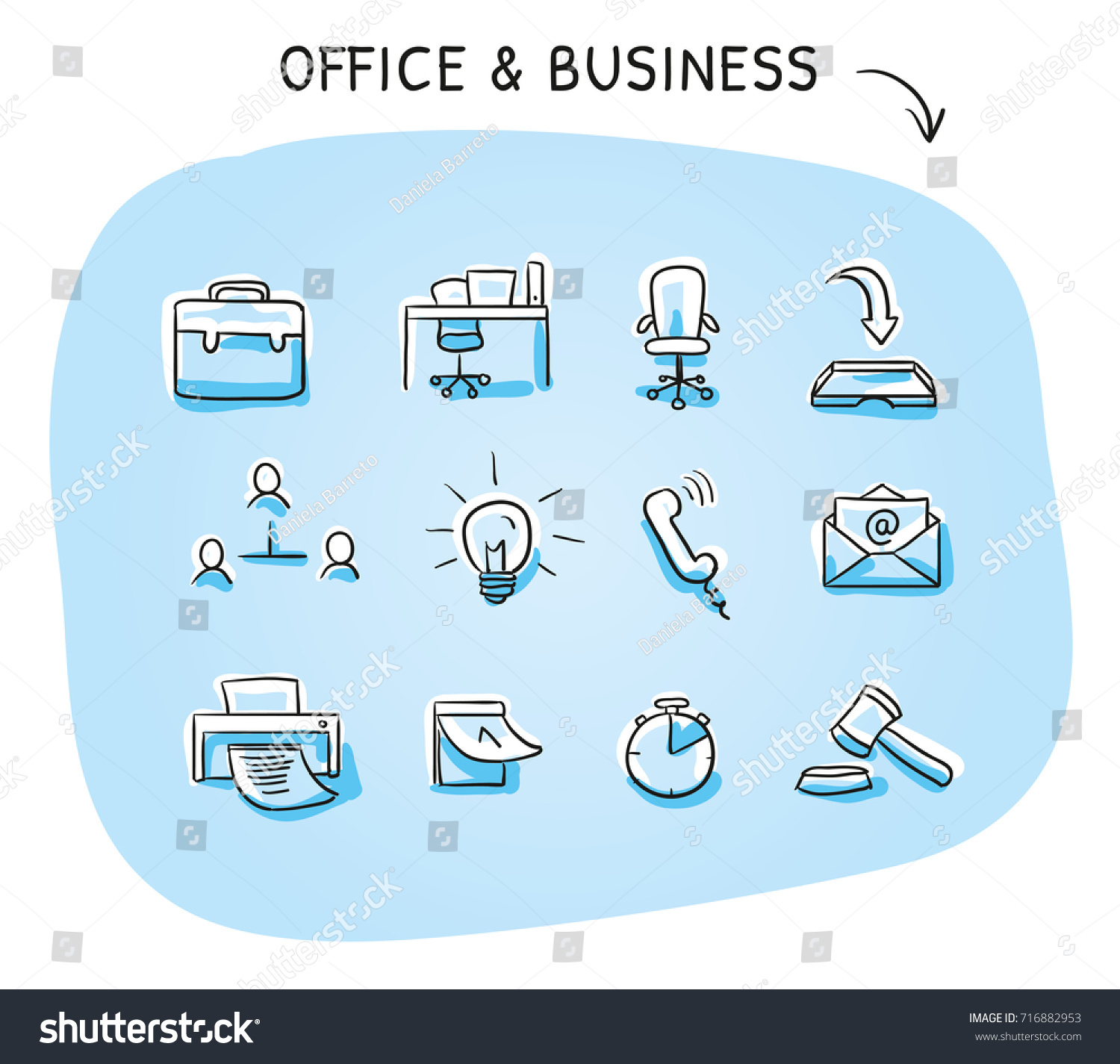 Set Different fice Icons Desk Chair Stock Vector