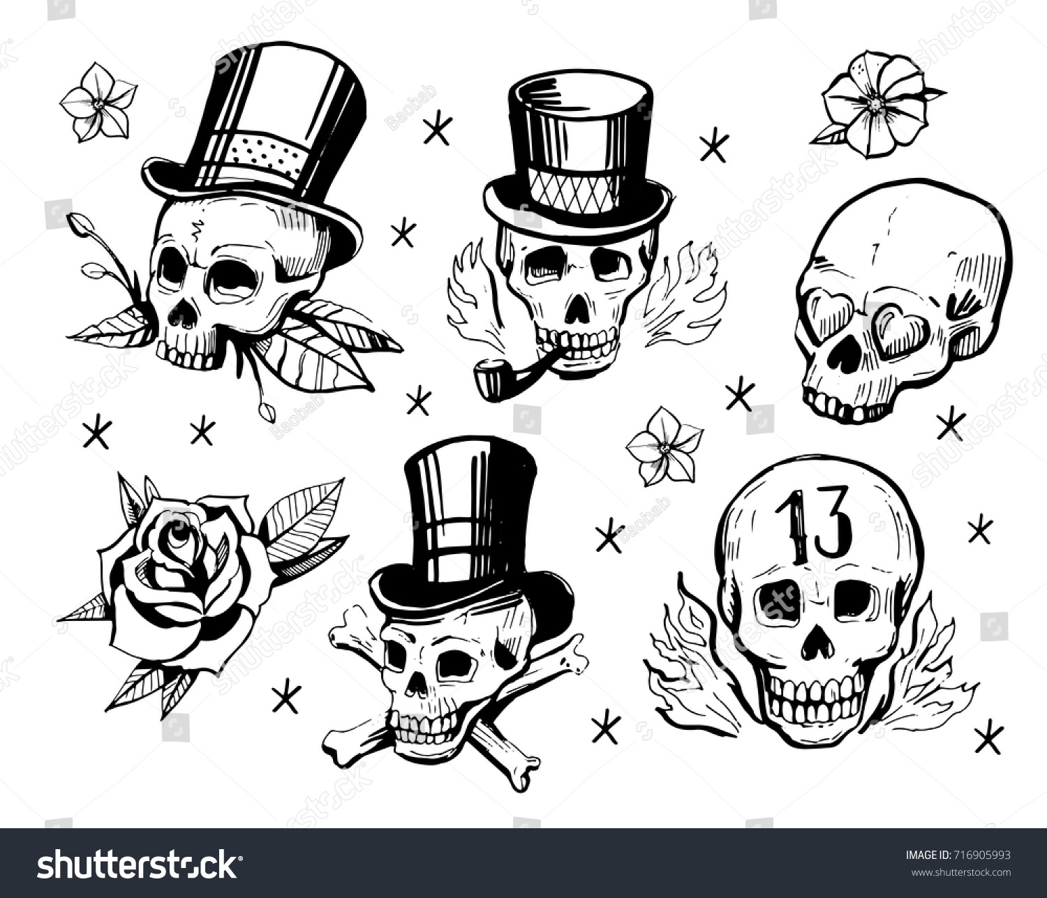Set Skulls Old School Tattoo Style Stock Vector Royalty Free