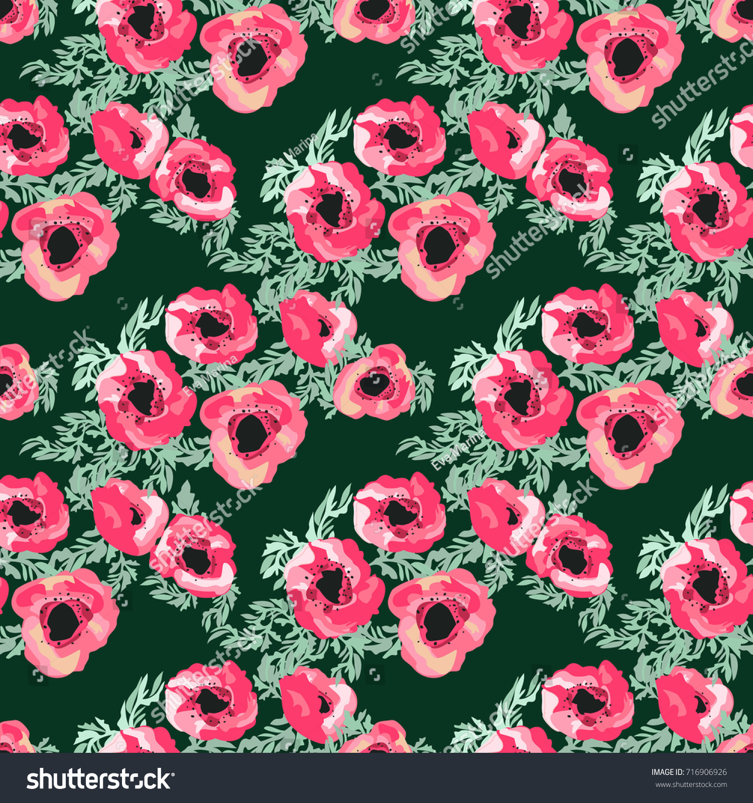 Seamless Pattern Small Pretty Flowers Poppy Stock Vector Royalty