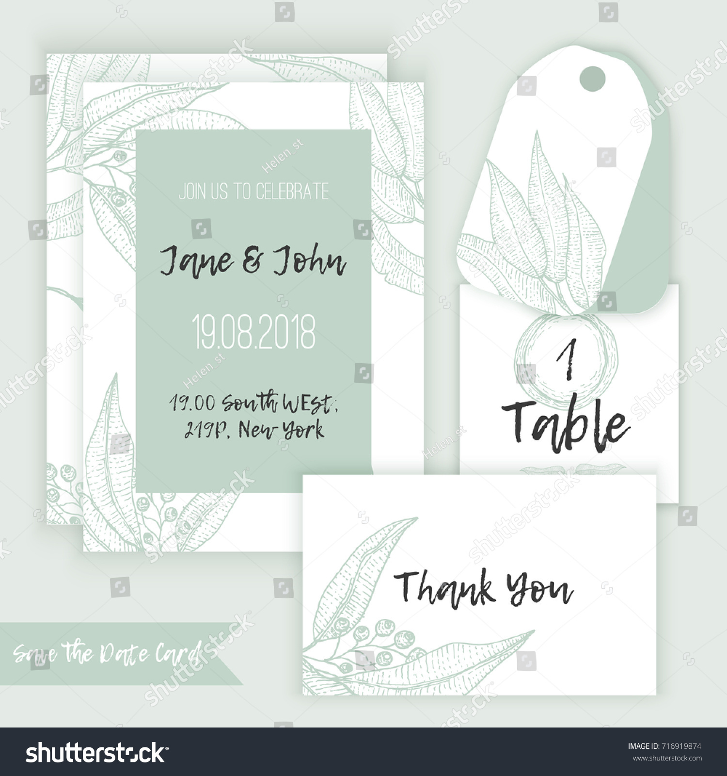 Rustic wedding decoration template decorate eucalyptus stock vector rustic wedding decoration template decorate with eucalyptus branches in sketch style with menu table junglespirit Choice Image