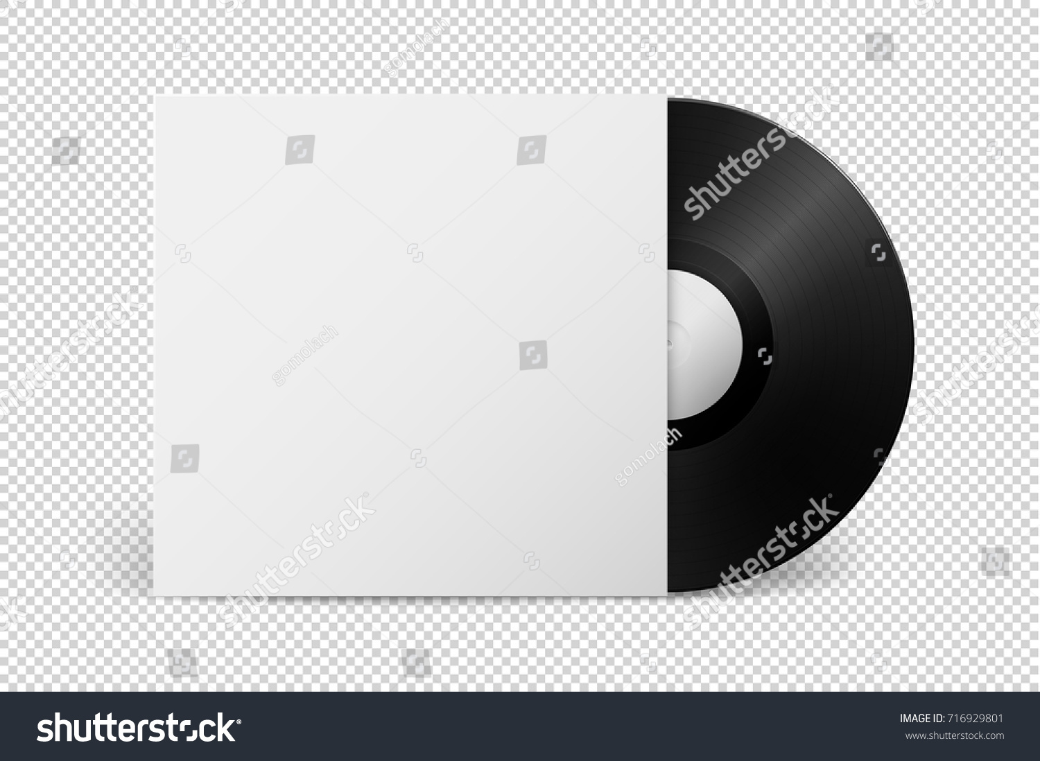 Realistic empty music gramophone vinyl lp stock vector 716929801 realistic empty music gramophone vinyl lp record with cover icon closeup isolated on transparent background maxwellsz