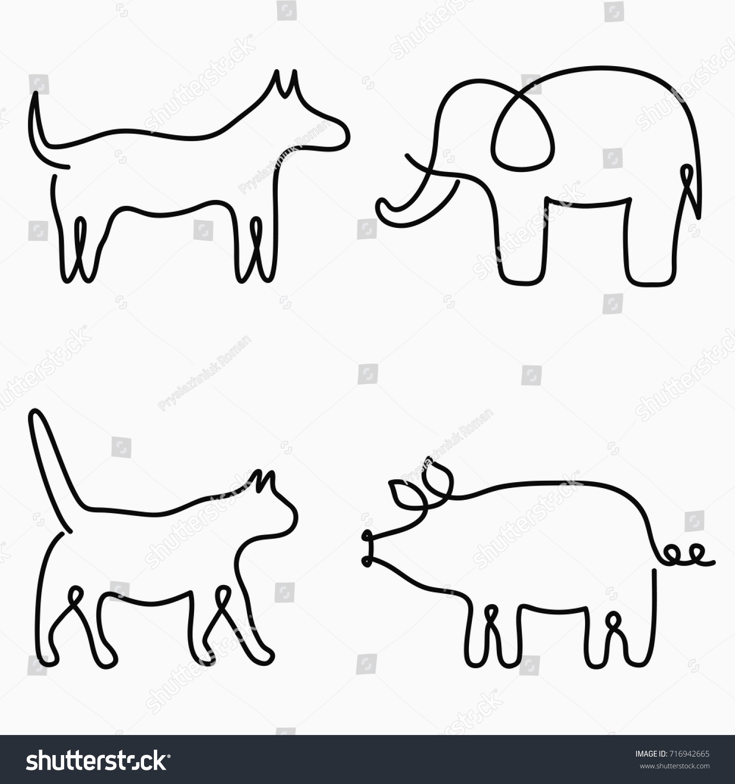 Animals One Line Drawing Continuous Line Stock Vector 716942665 ...