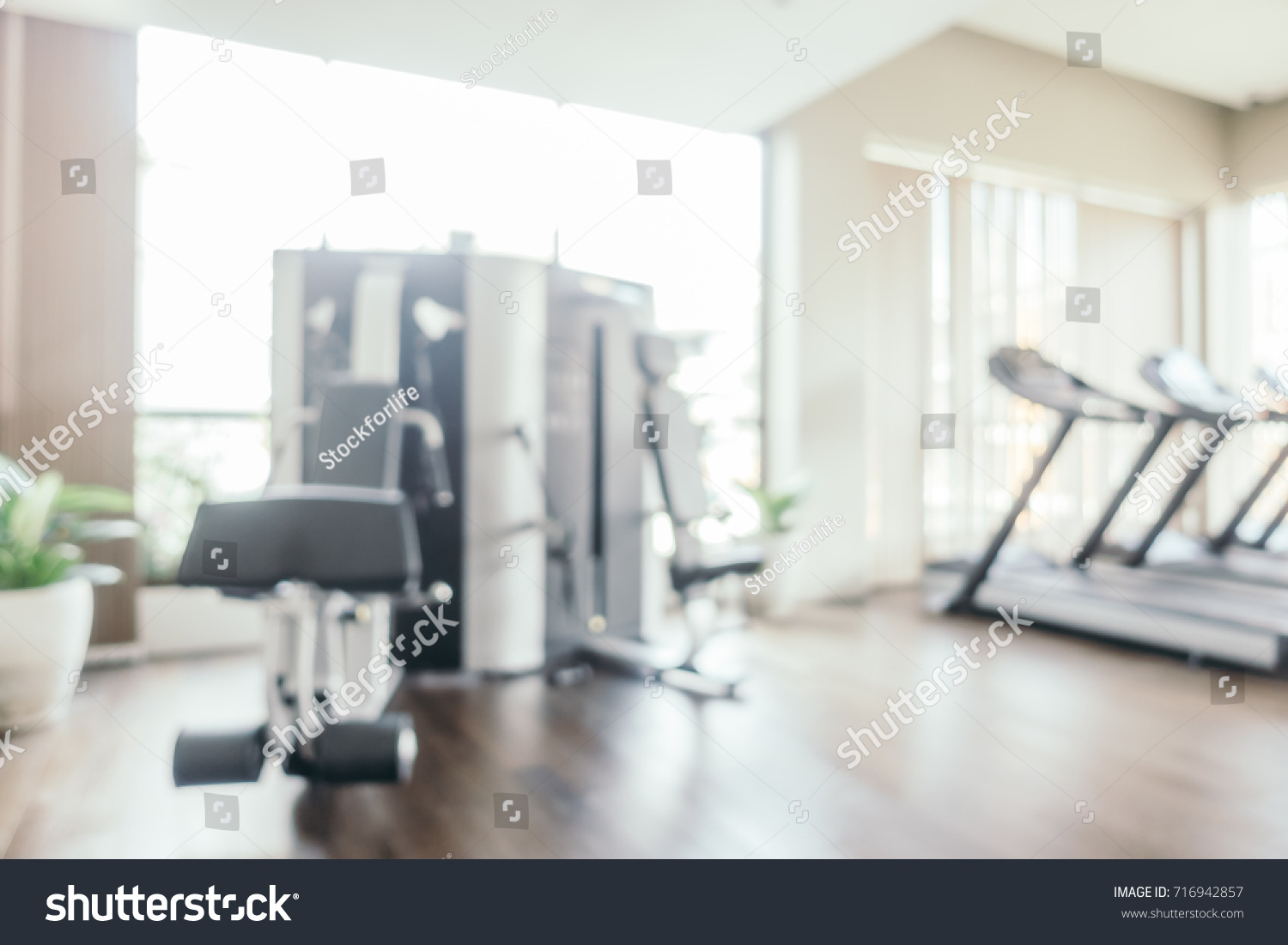 Abstract Blur Fitness Equipment Gym Room Stock Photo (Royalty Free ...