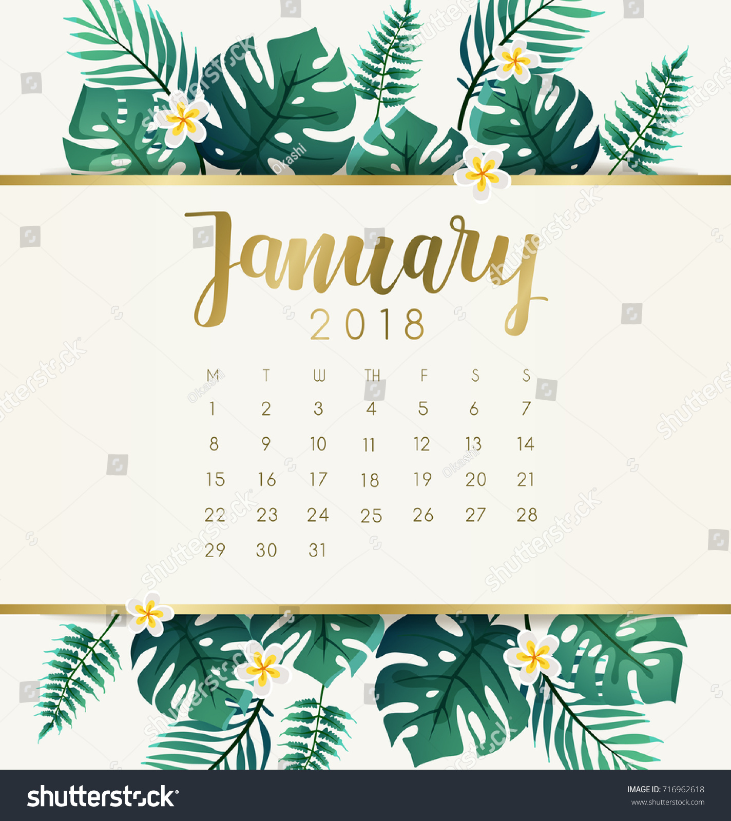 january 2018 calendar template exotic tropical のベクター画像素材