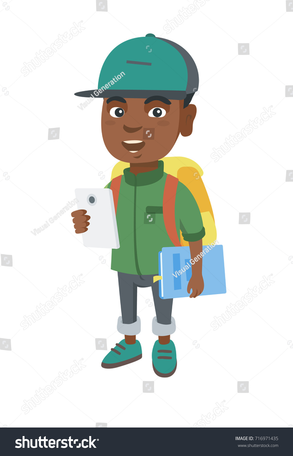 African-american smiling schoolboy with backpack using a cellphone. Little  schoolboy holding cellphone and b0031c822bb18