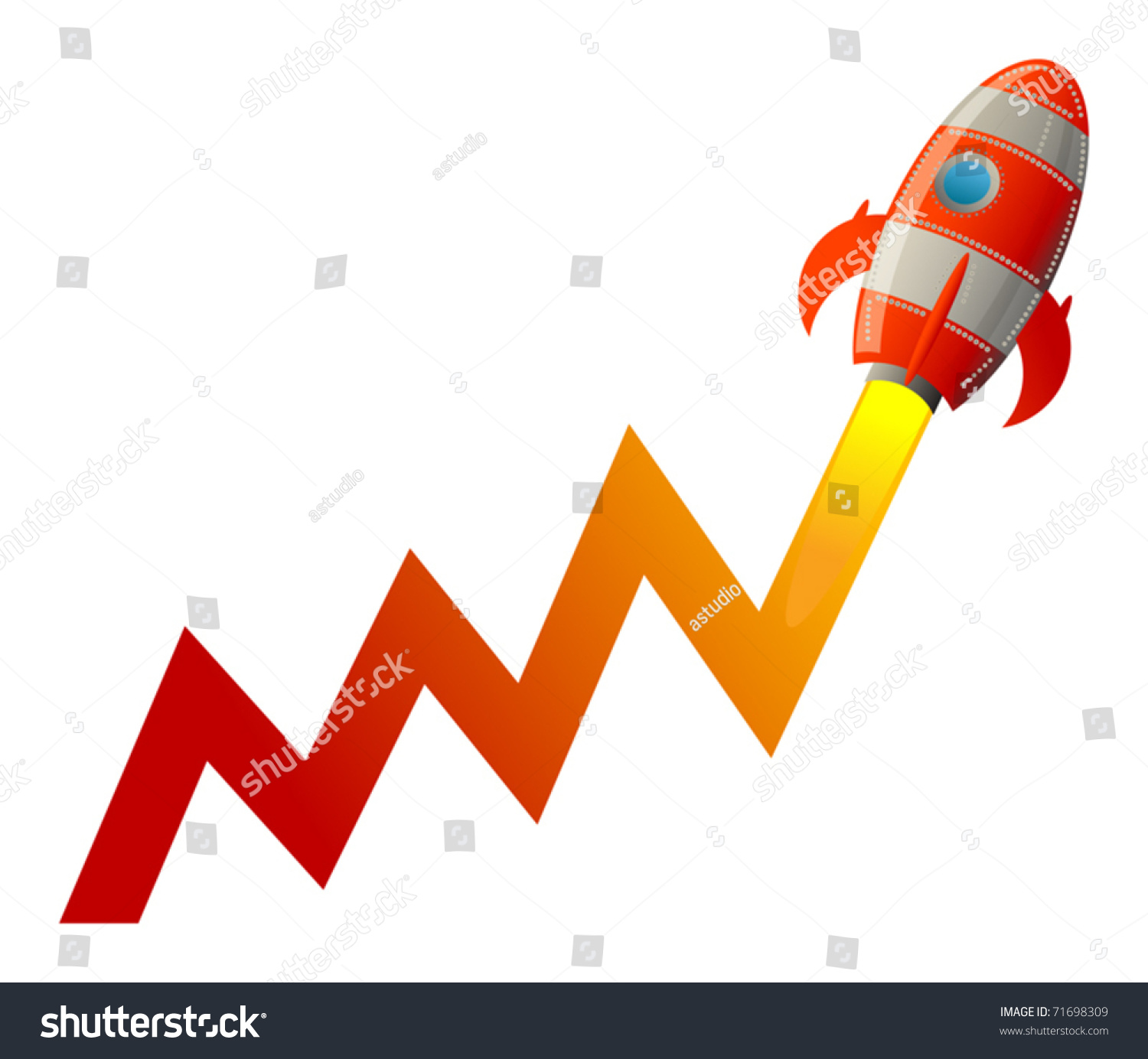 business graph rocket going up vector stock vector (royalty free
