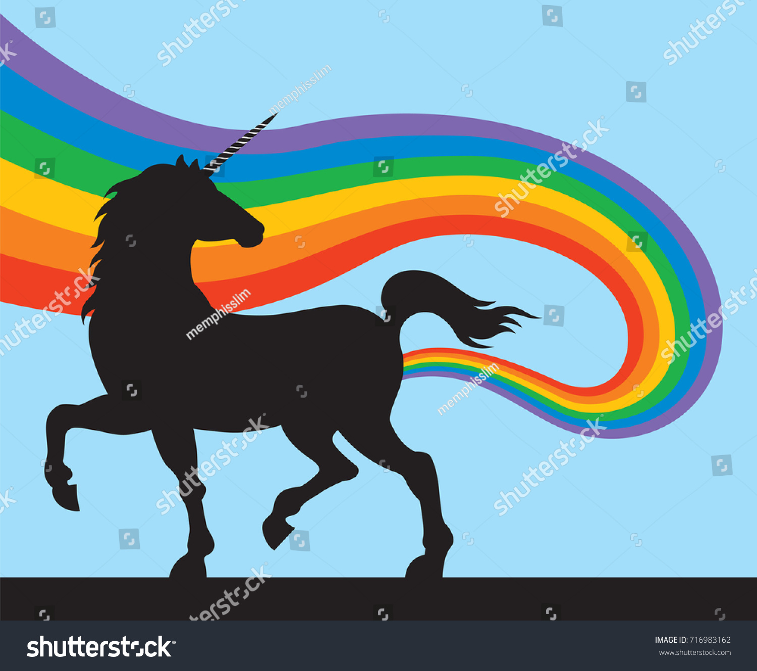 unicorns rainbows vector illustration magical unicorn stock