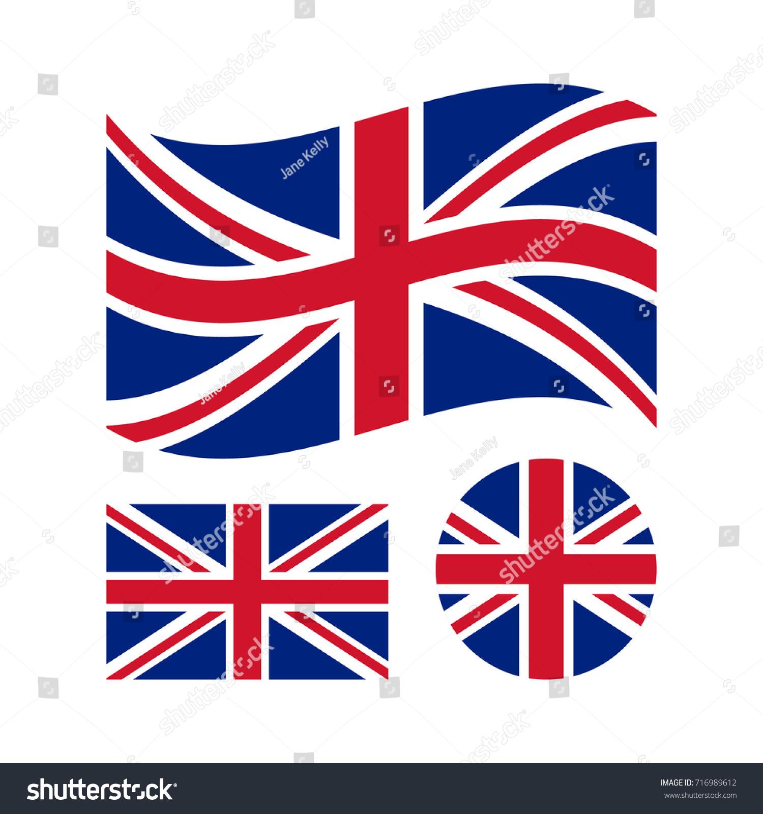 great britain flag set rectangular waving stock vector 716989612
