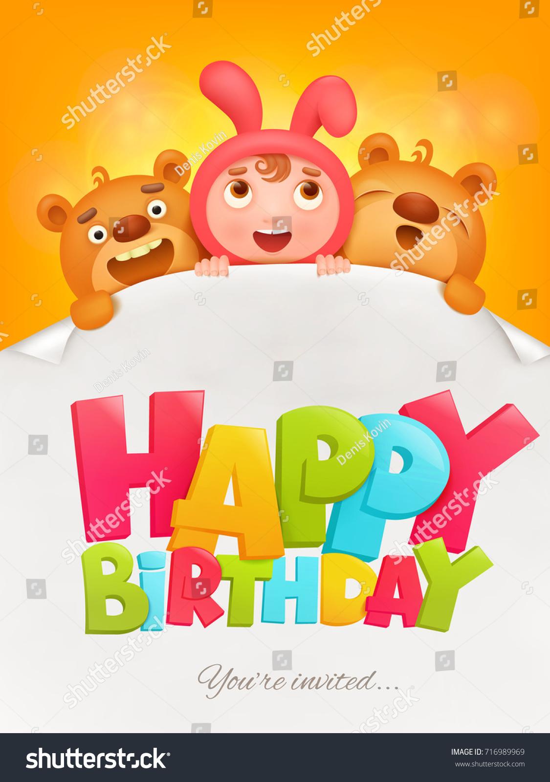 Happy Birthday Invitation Card Girl Pink Stock Illustration ...