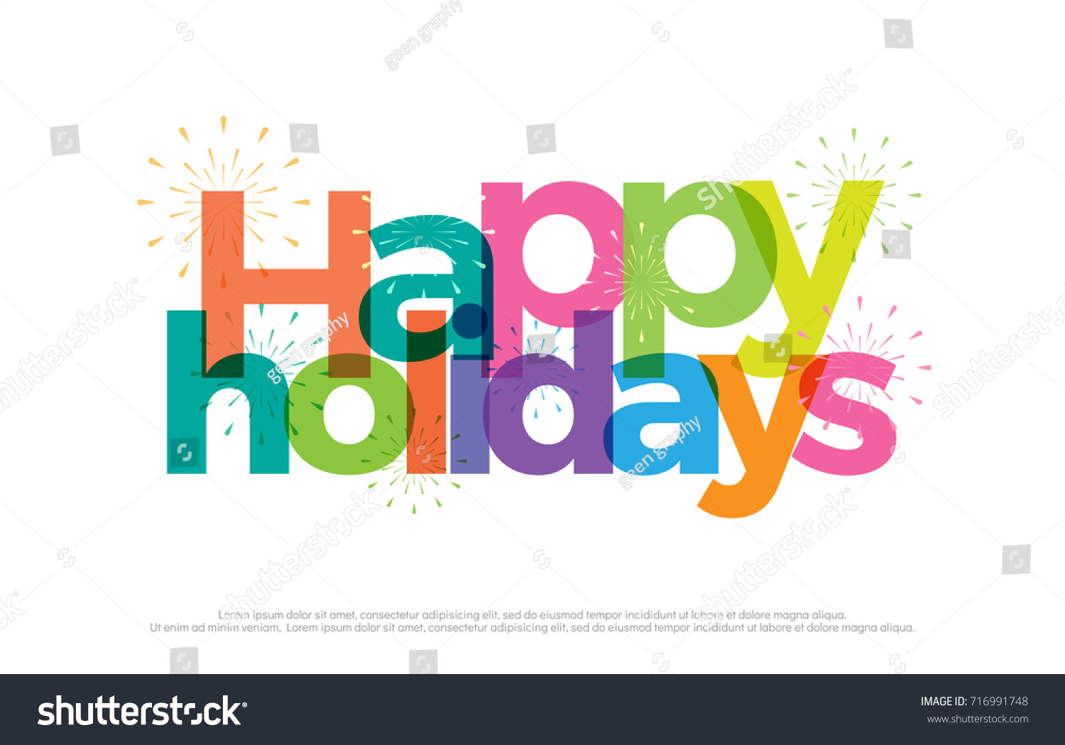 happy holidays colorful logo happy holiday vacation typography design with fireworks use as photo overlay