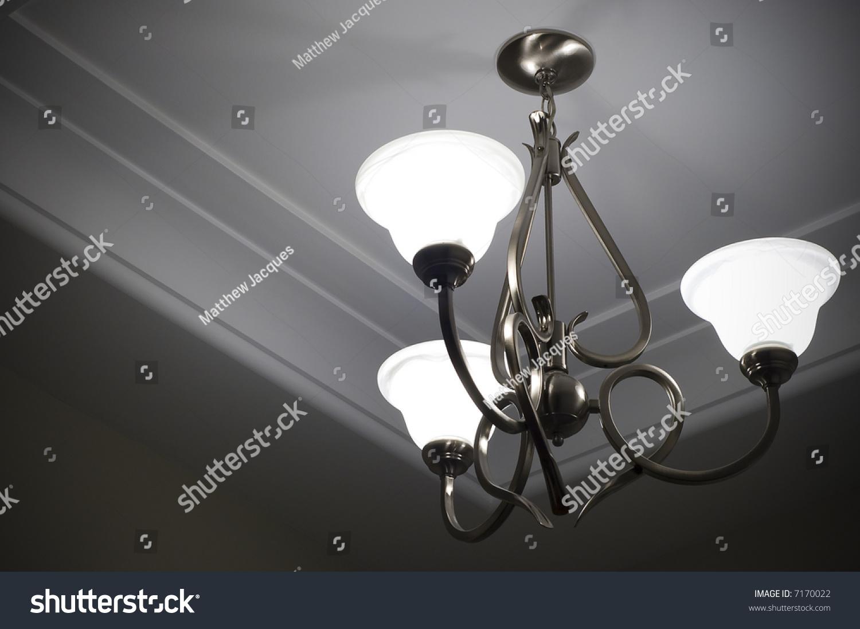 Three lamp metal ceiling light fixture stock photo 7170022 three lamp metal ceiling light fixture arubaitofo Images
