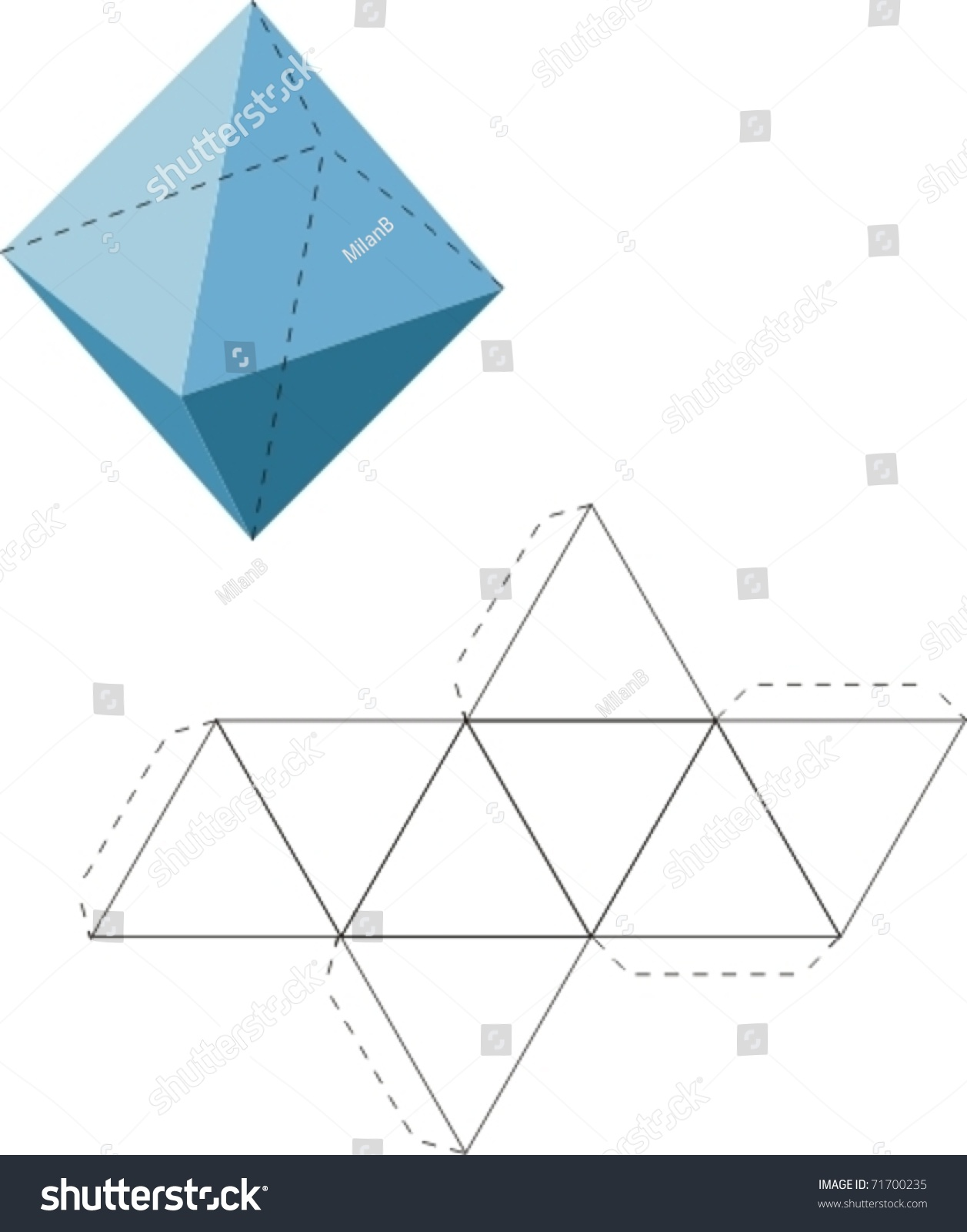 Octahedron Net Stock Vector 71700235