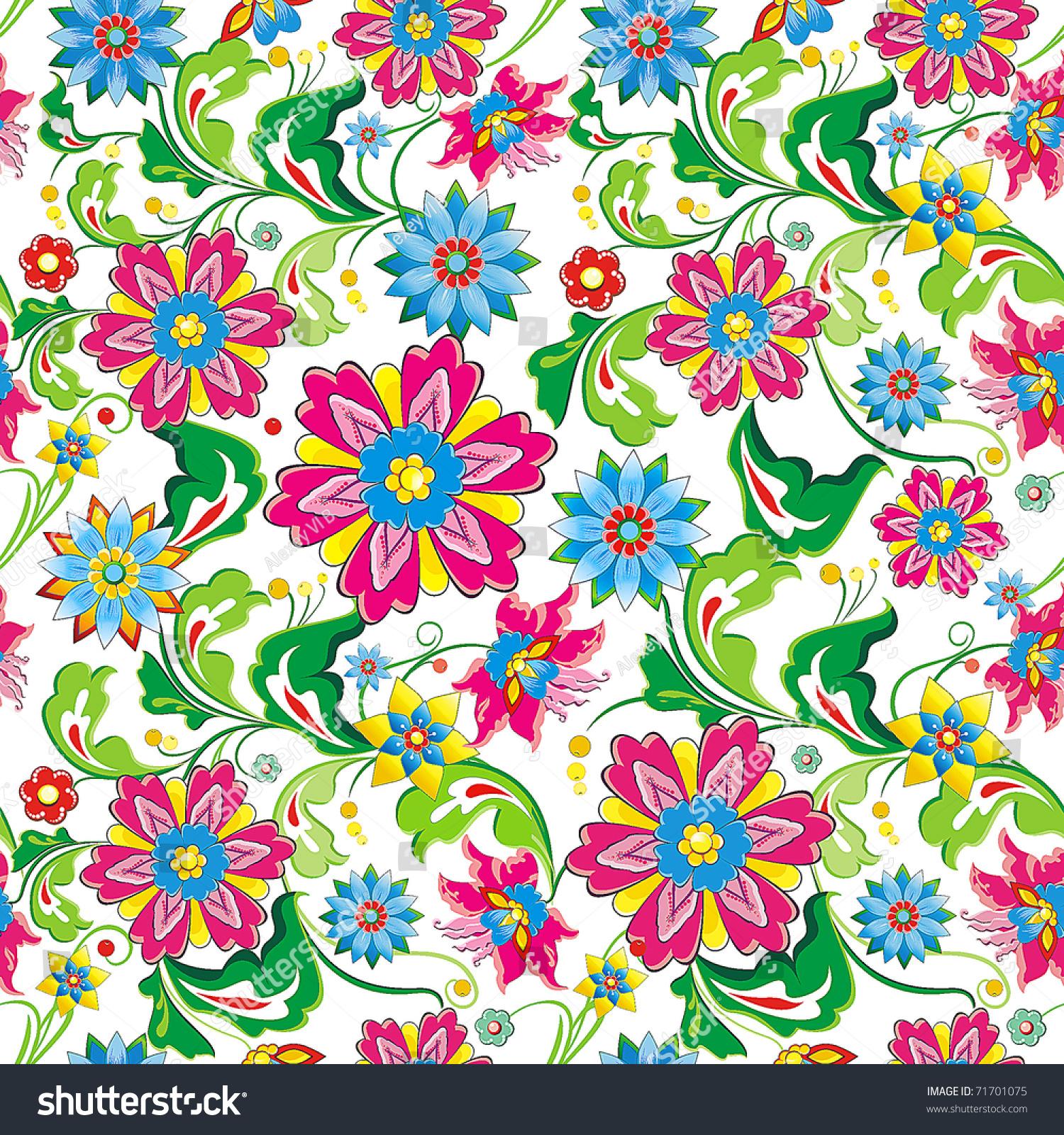 Vivid, Colorful, Repeating Seamless Floral Wallpaper