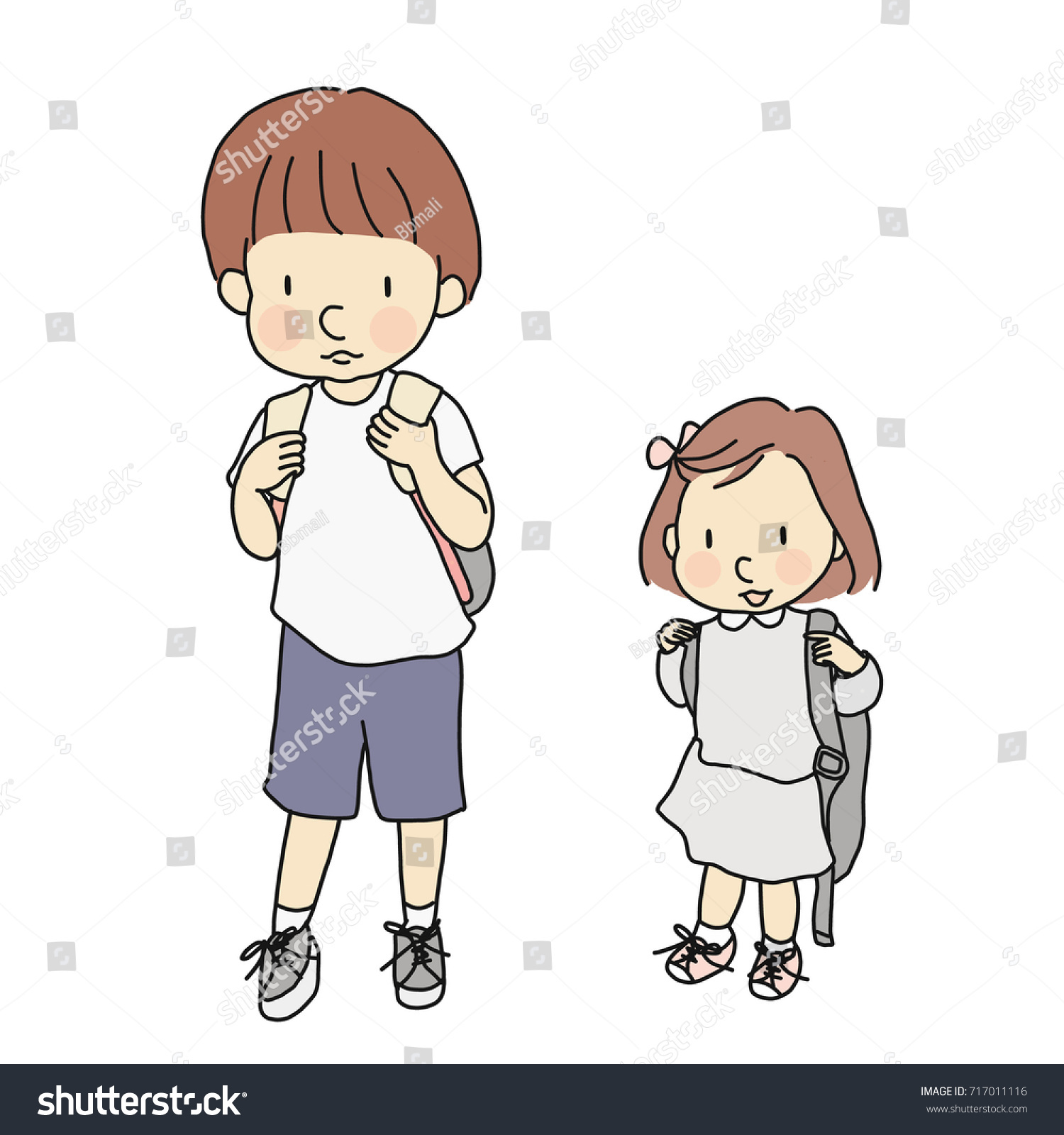 Vector Illustration Little Kids Carrying School Stock Vector
