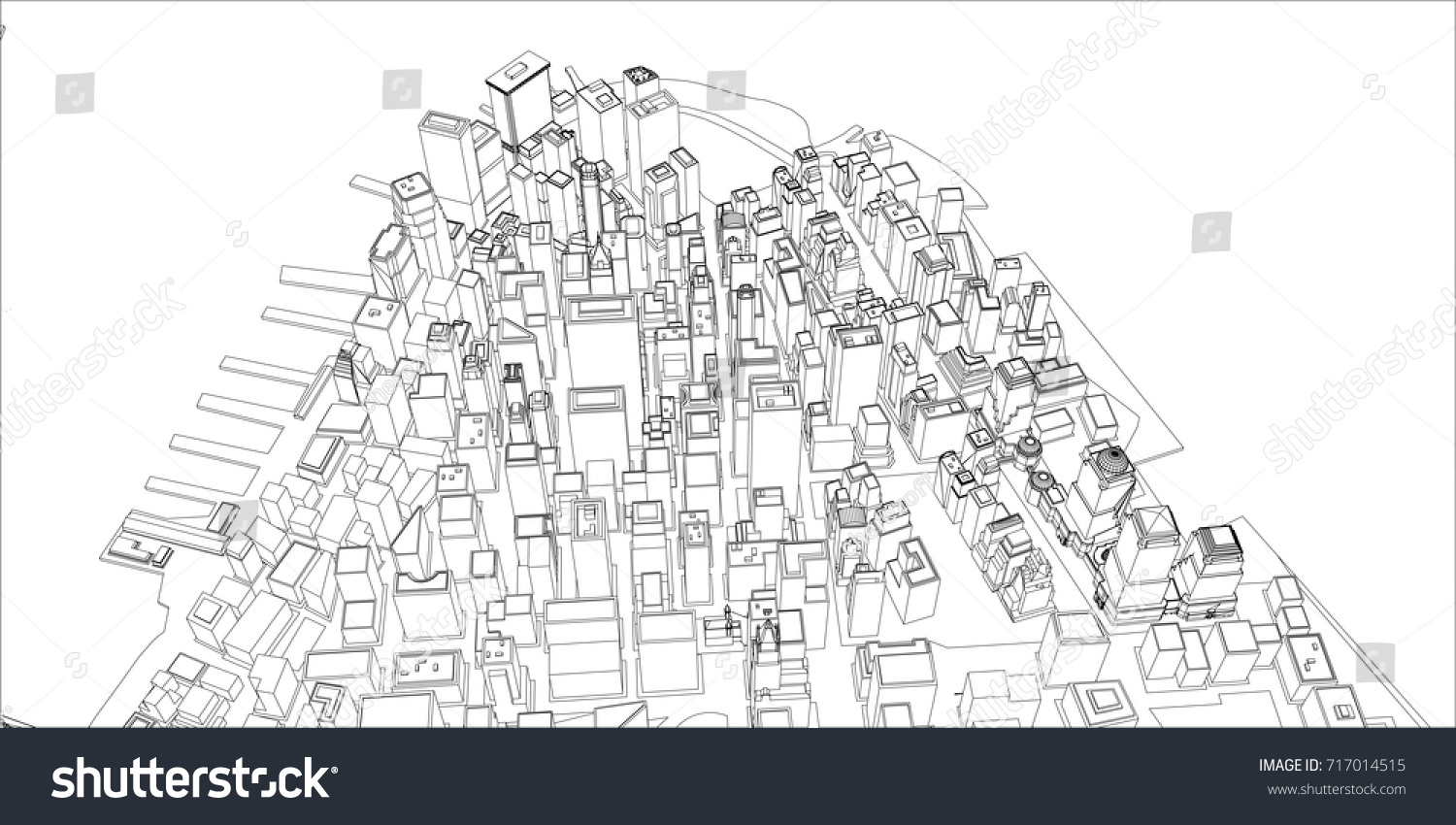 Wireframe new york city blueprint style stock vector 717014515 wire frame new york city blueprint style 3d rendering vector illustration architecture malvernweather Images