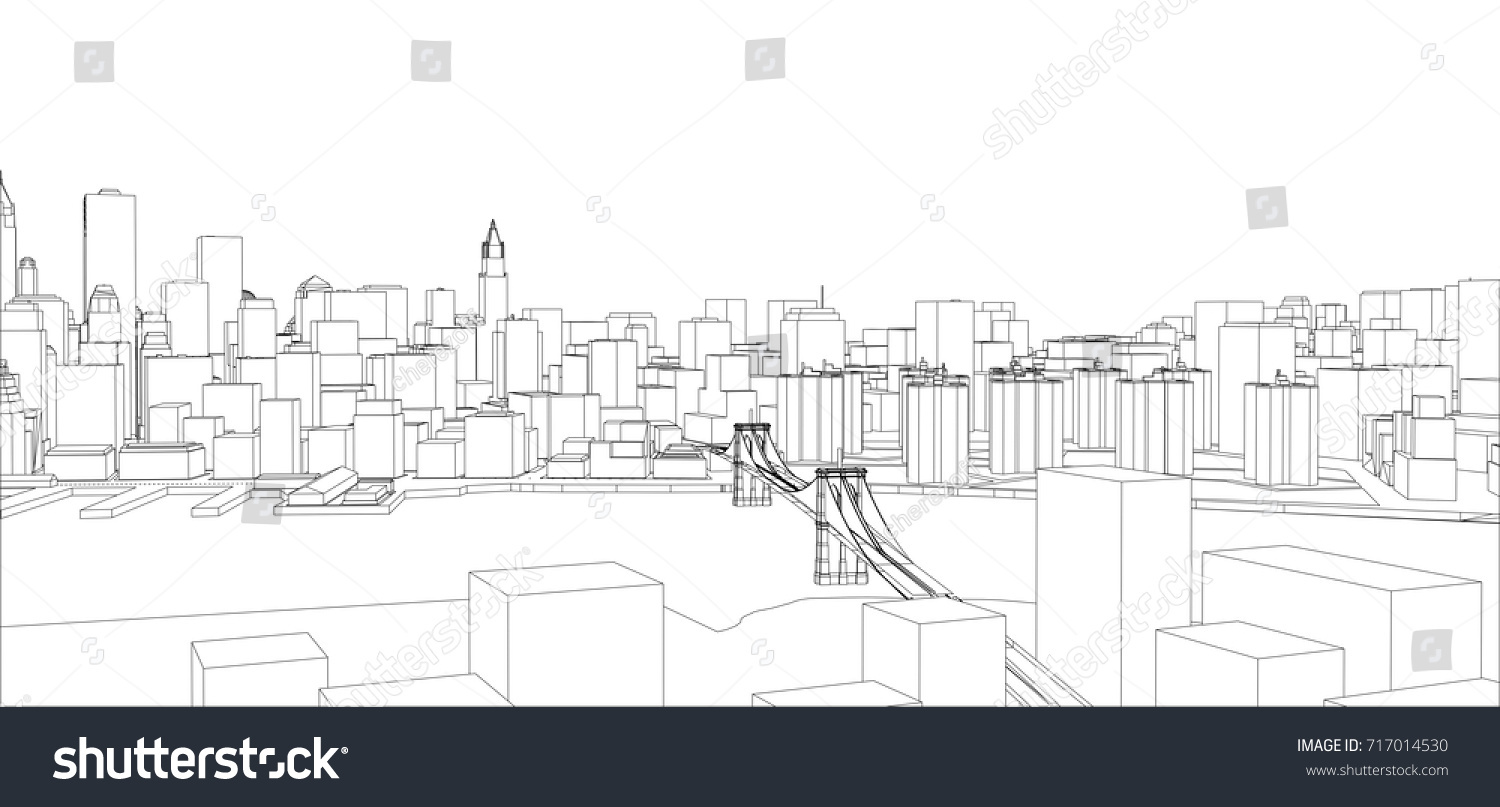 Wireframe new york city blueprint style stock vector 717014530 wire frame new york city blueprint style 3d rendering vector illustration architecture malvernweather Image collections