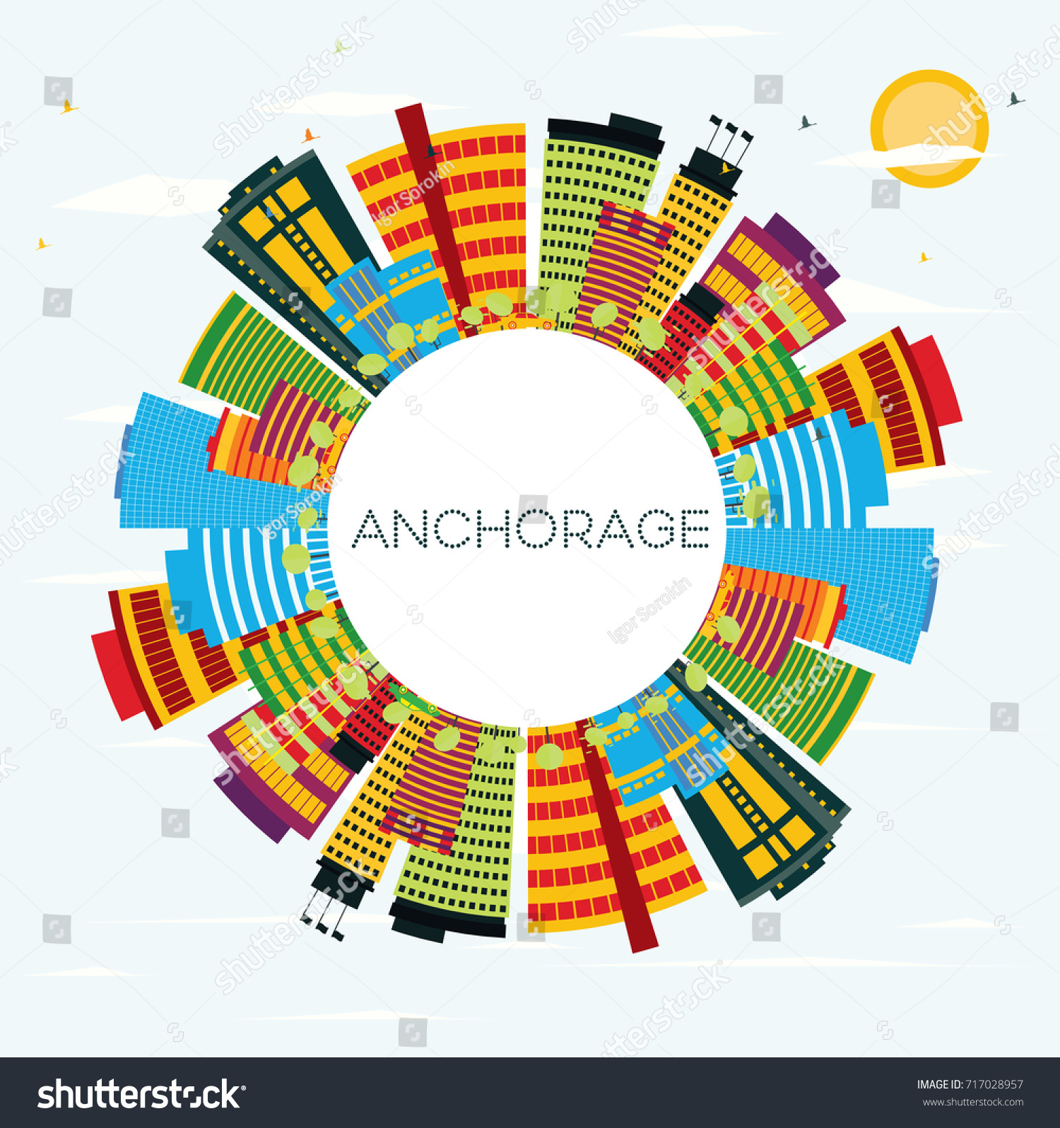 Color art anchorage - Anchorage Skyline With Color Buildings Blue Sky And Copy Space Business Travel And Tourism
