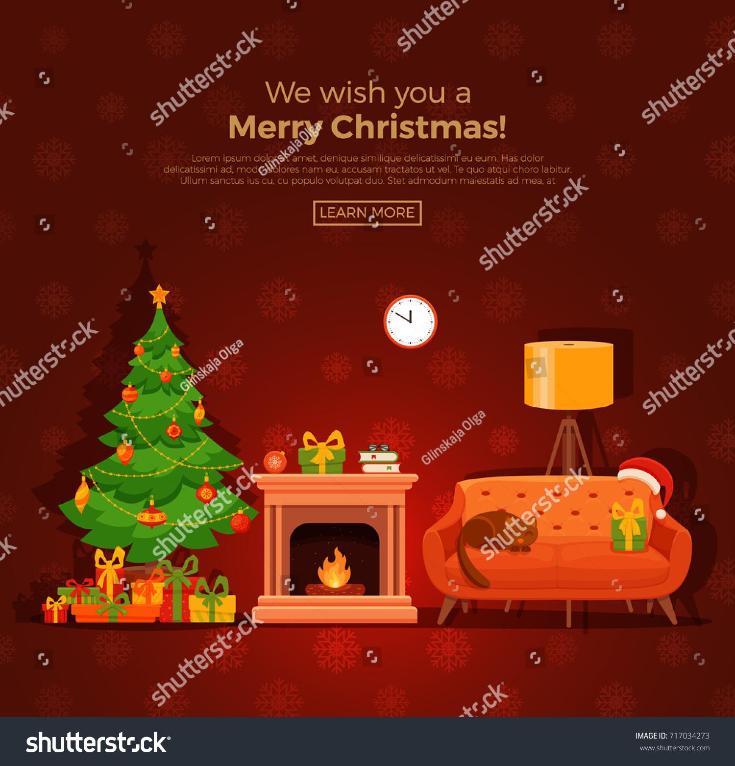 Christmas Room Stock Vector Image Of Illuminated: Christmas Fireplace Room Interior Colorful Cartoon Stock