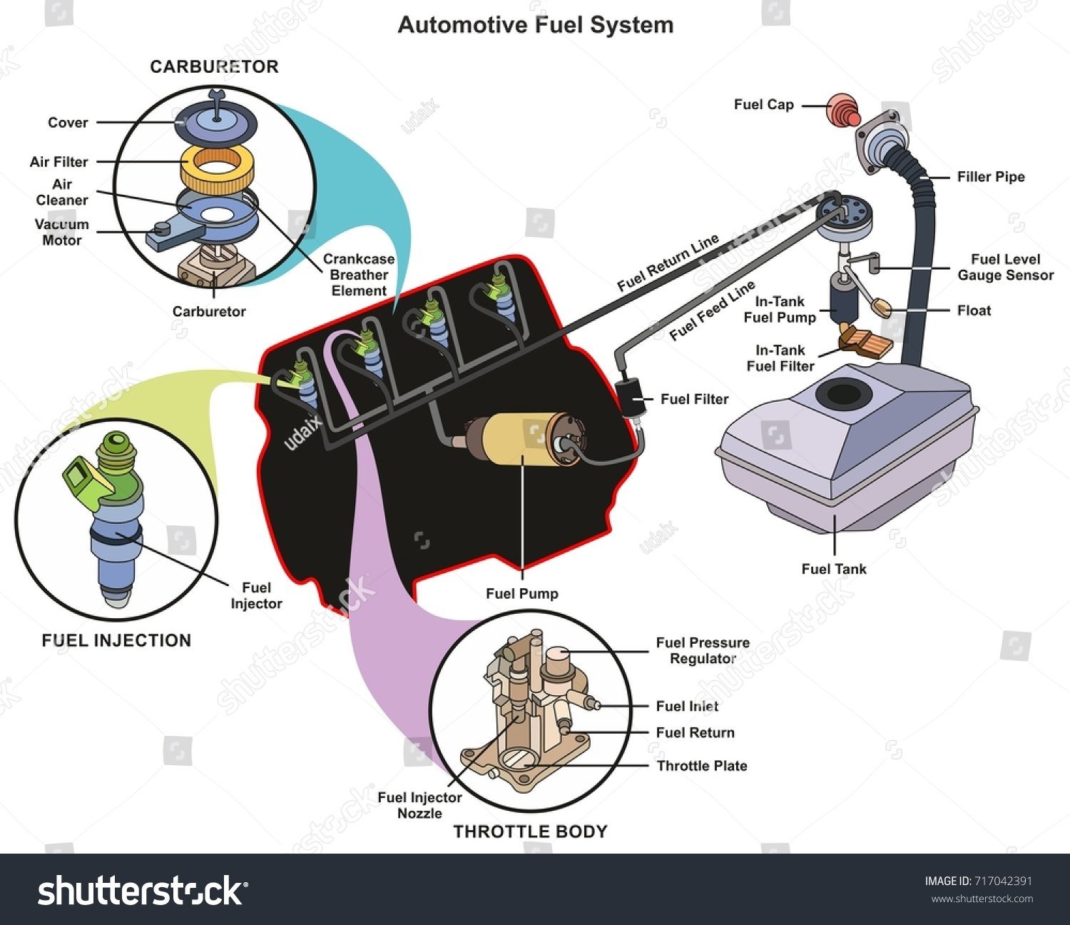Automotive Fuel System infographic diagram showing parts of carburetor  injector throttle body from tank to engine