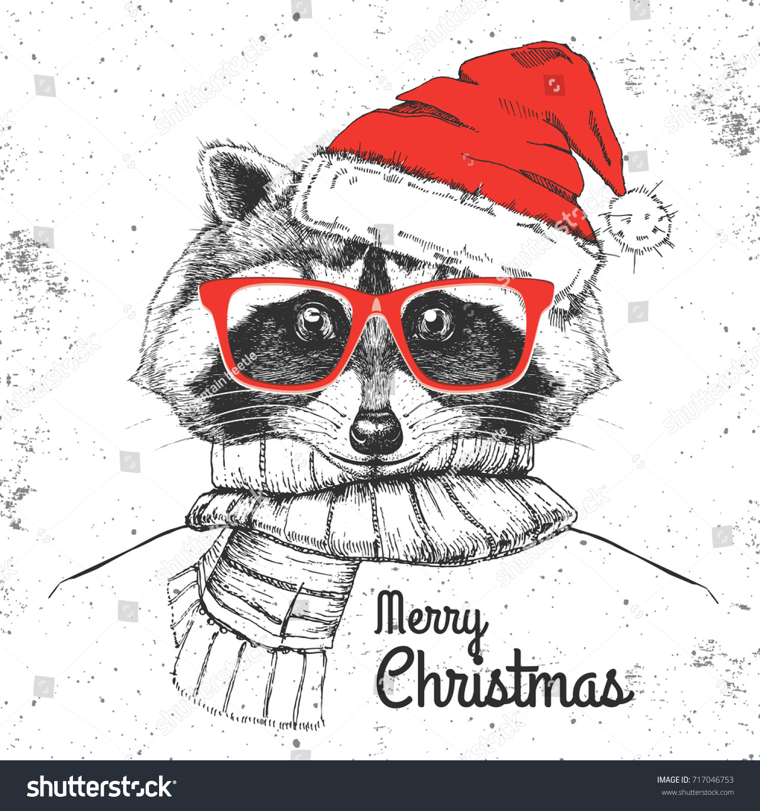Christmas Hipster Fashion Animal Raccoon Dressed Stock ...