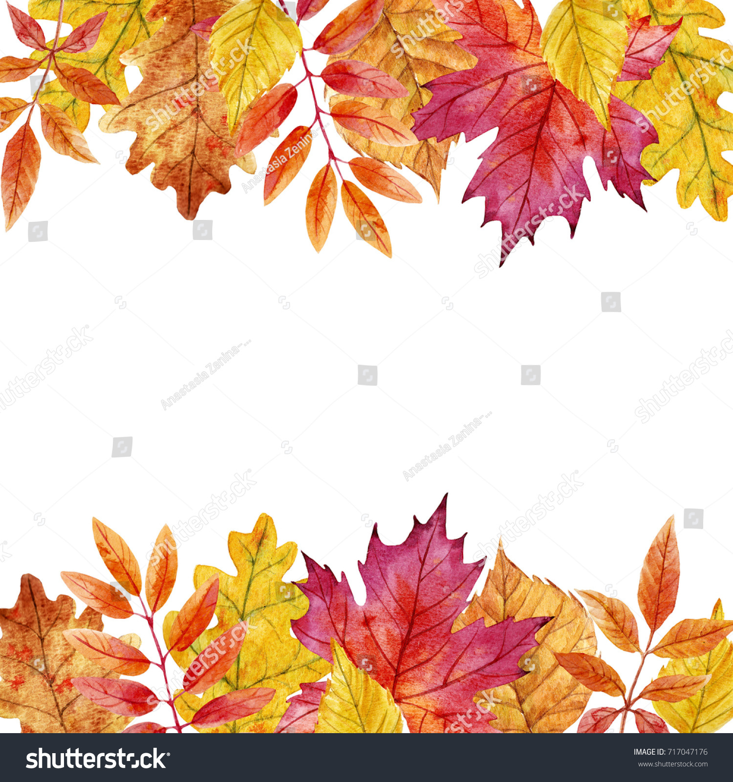 watercolor autumn illustration leaves invitation template stock