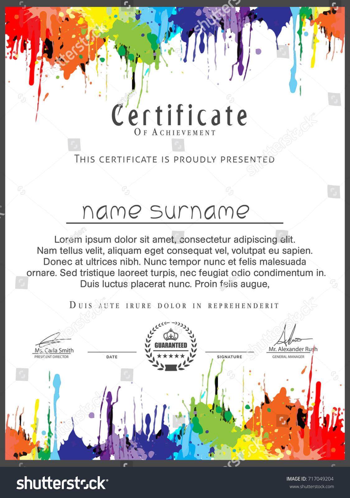 Nice Beautiful Art Certificate Design Templates Stock Vector