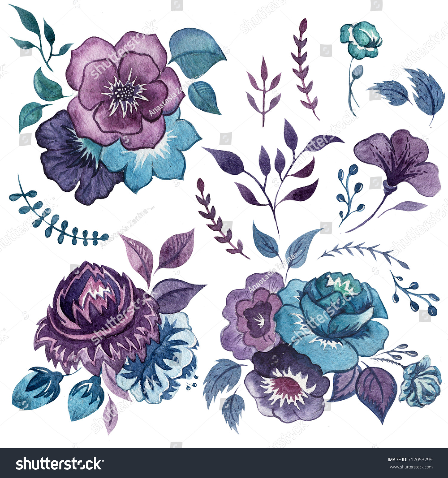 Watercolor Set Abstract Blue Purple Flowers Stock Illustration