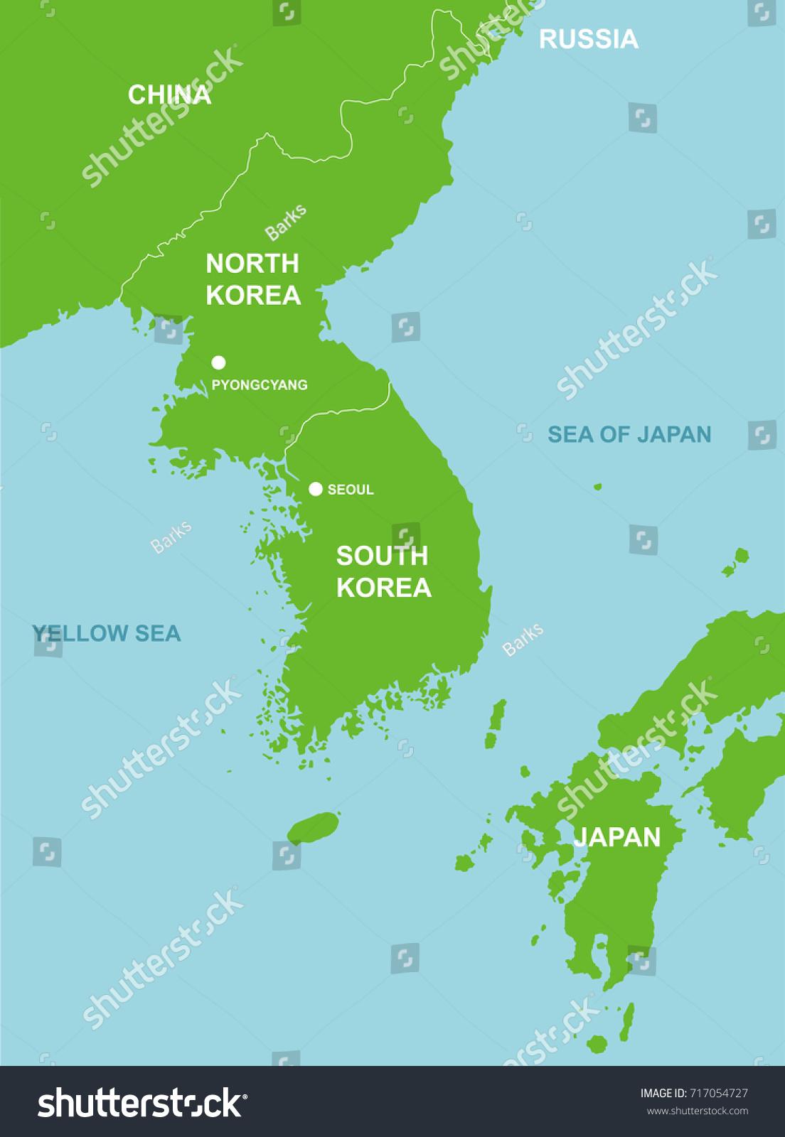 North Korea Surrounding Countries Map Stock Vector (Royalty Free ...