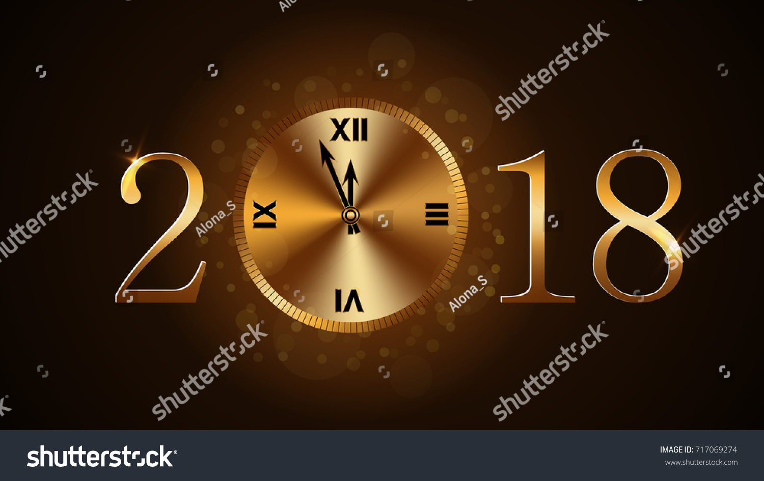 happy new year card background magic gold clock countdown golden numbers 2018 christmas