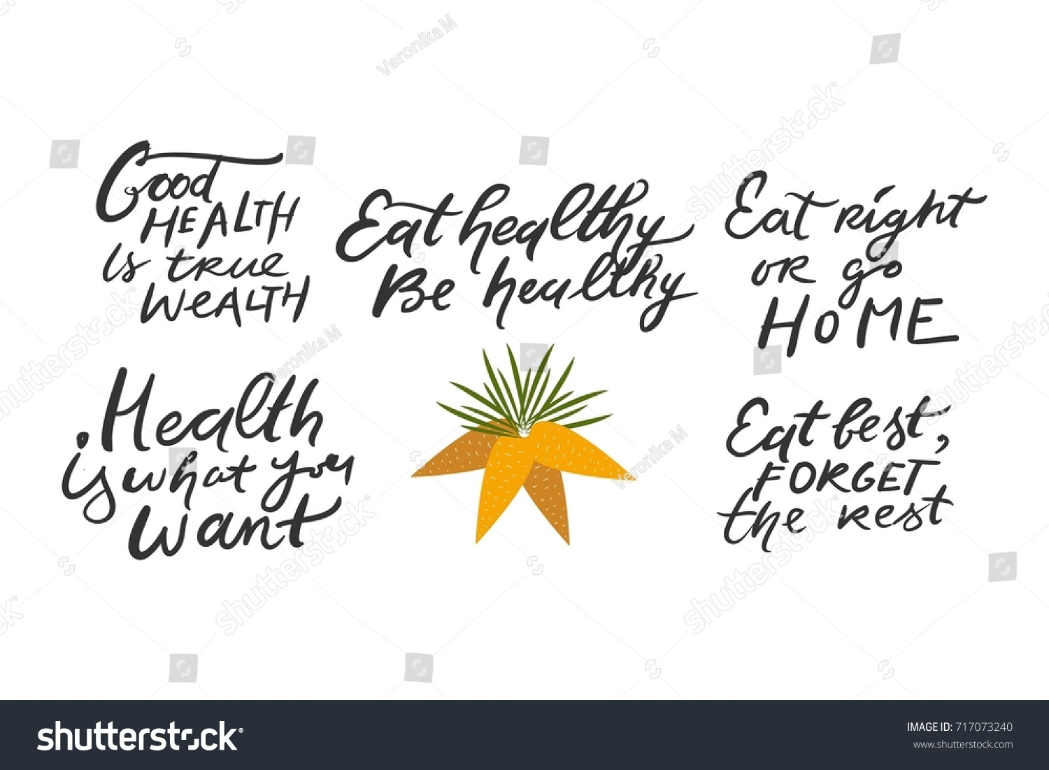 Healthy Quotes Healthy Living Motivational Quotes Hand Lettering Stock Vector