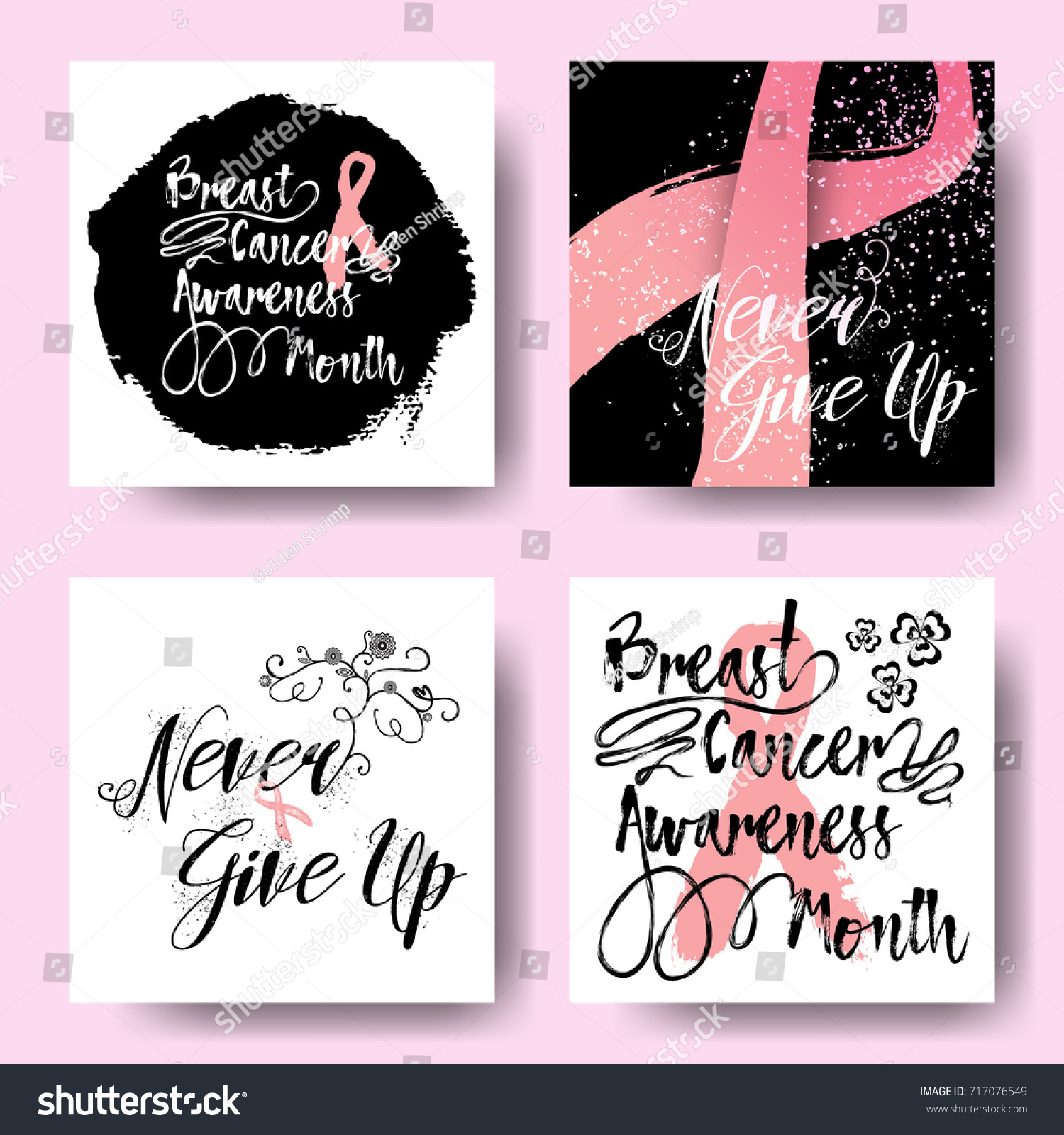 Set pink ribbons symbols cards october stock vector 717076549 set of pink ribbons symbols and cards for october breast cancer awareness month collection of buycottarizona Images