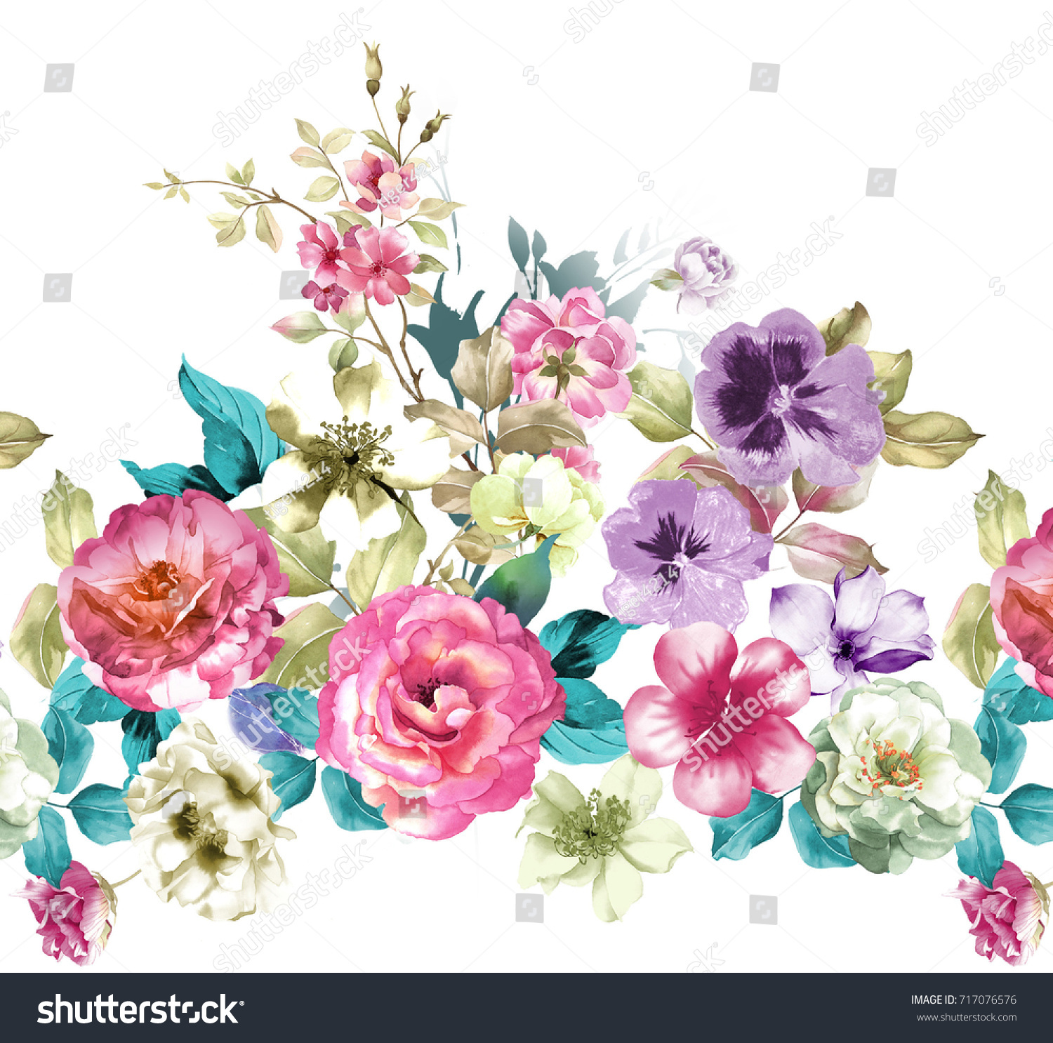 Graceful flowers the leaves and flowers art design