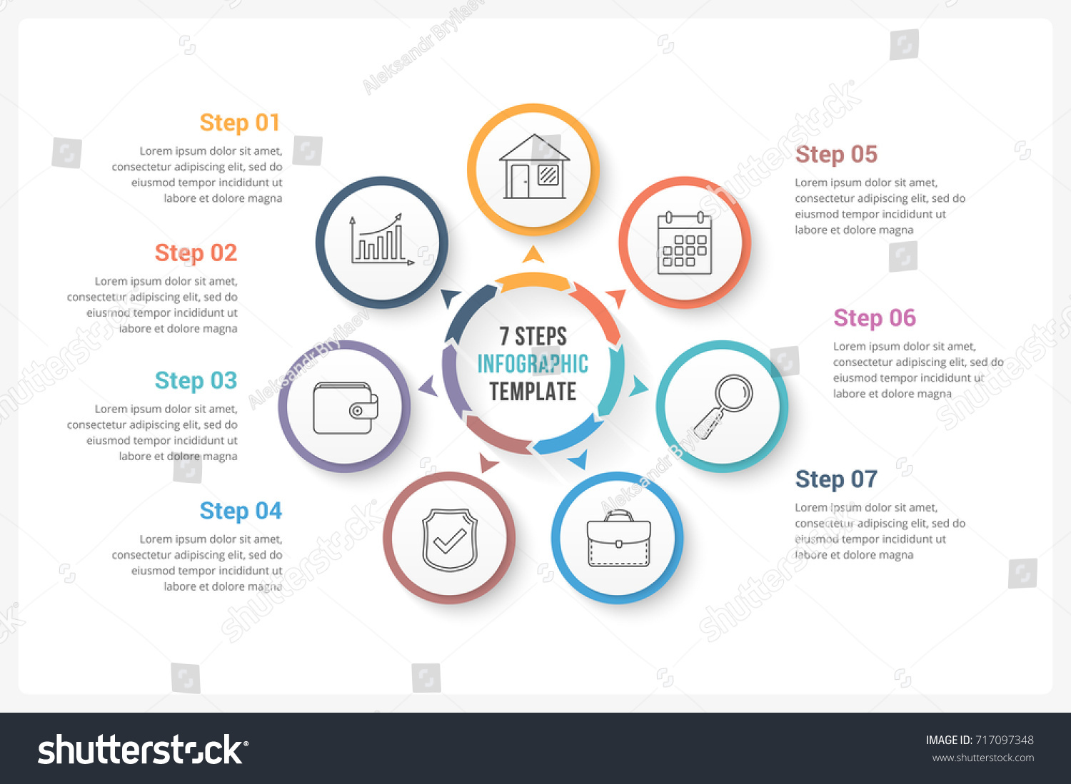 Circle infographics template seven elements can em vetor stock circle infographics template with seven elements can be used as process diagram steps ccuart Image collections