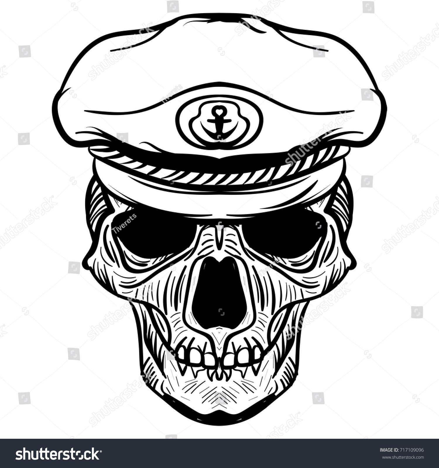 Vintage Hat Tattoos: Vintage Naval Skull Drawing Captain Hat Stock Vector