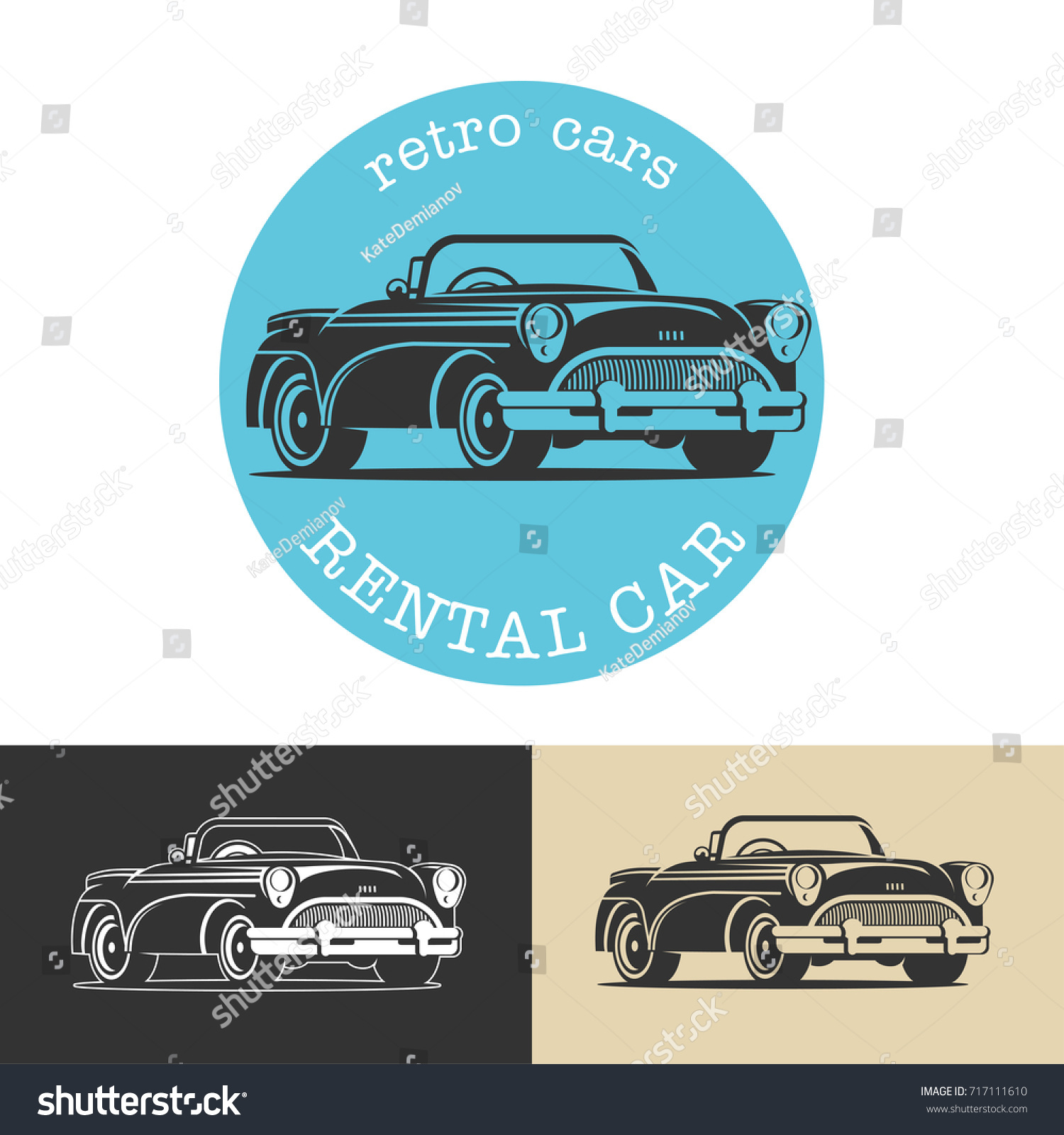 Vintage Car Black Vector Sign Logo Stock Vector 717111610 - Shutterstock