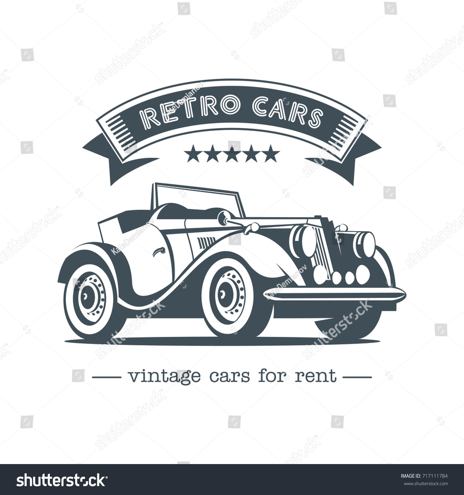 Vintage Car Retro Cars Rent Monochrome Stock Vector (2018) 717111784 ...
