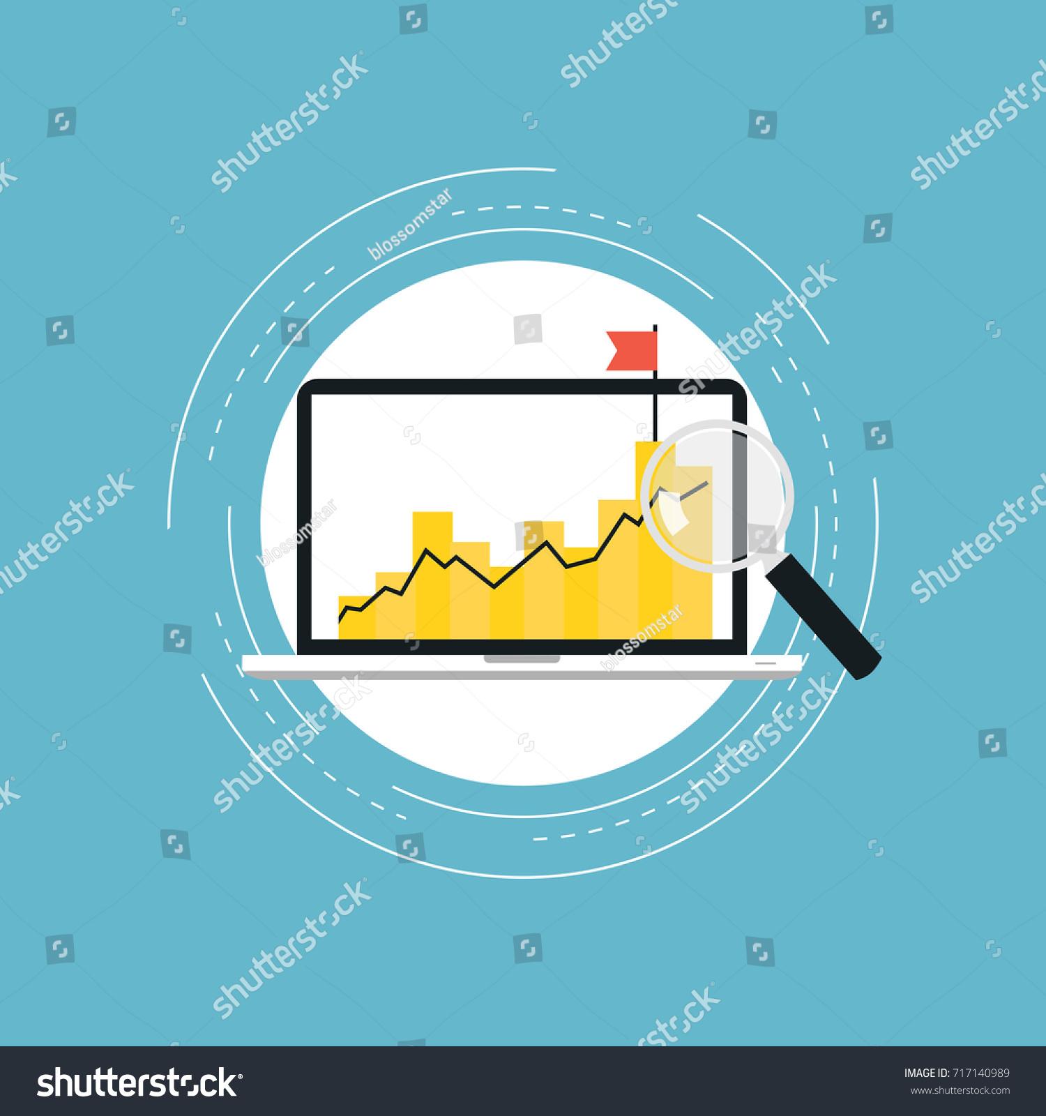 business graph statistics flat vector illustration stock vector