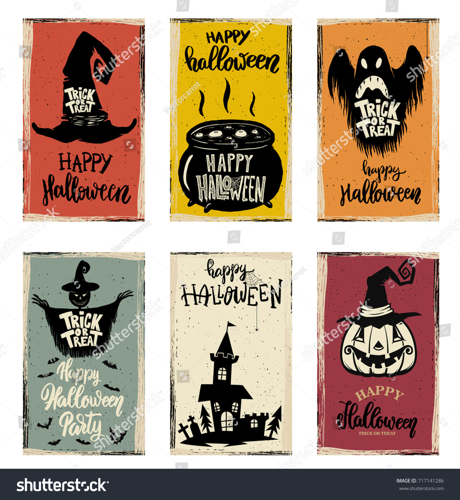 Set Halloween Banner Templates Monster Characters Stock Vector ...