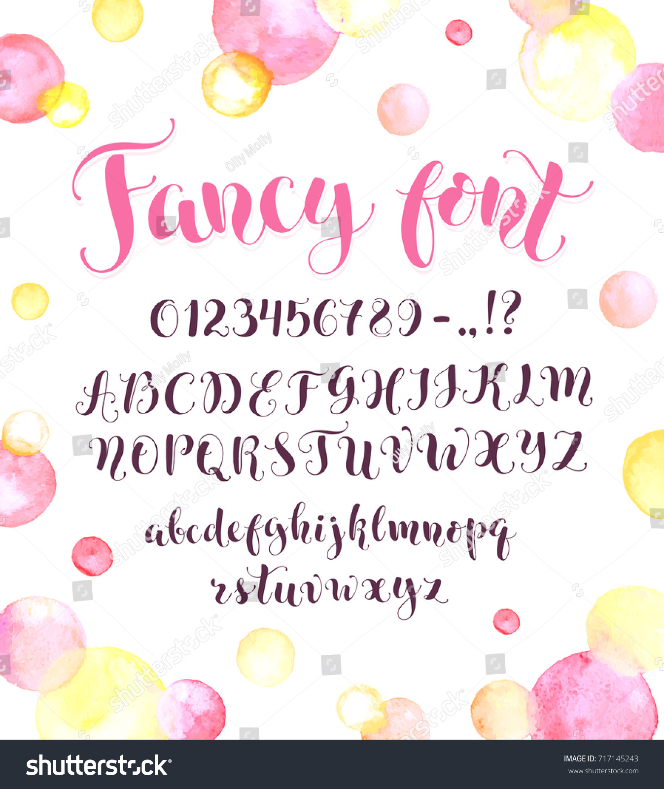 Fancy Calligraphy Font Watercolor Spots Isolated Stock Vector