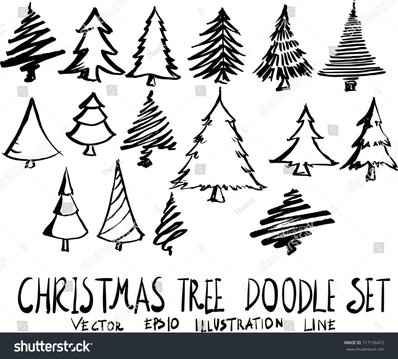 Set Christmas Tree Doodle Illustration Hand Stock-Vektorgrafik ...