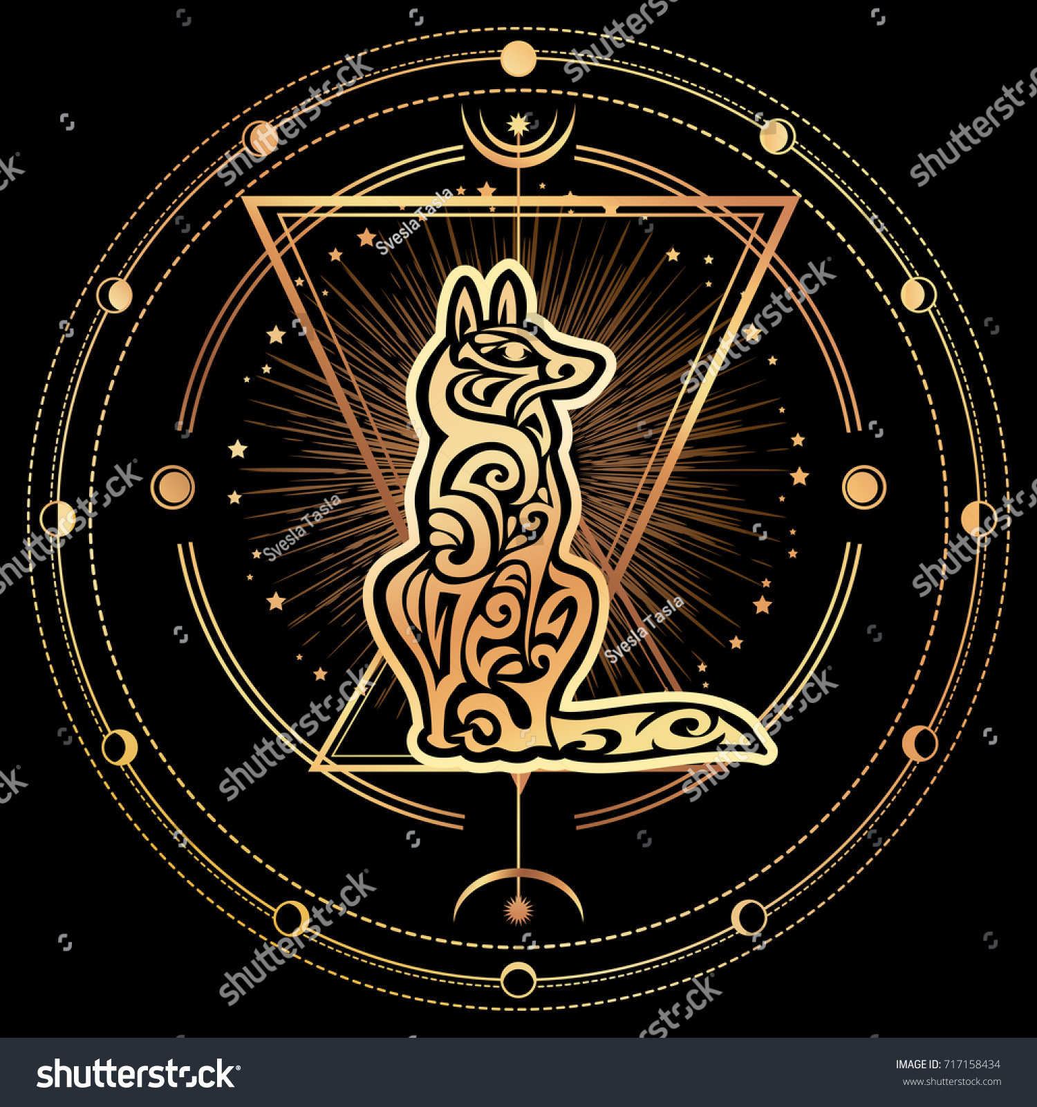 Gold dog silhouette chinese zodiac abstract stock vector 717158434 chinese zodiac abstract animal symbol of new year 2018 biocorpaavc Images