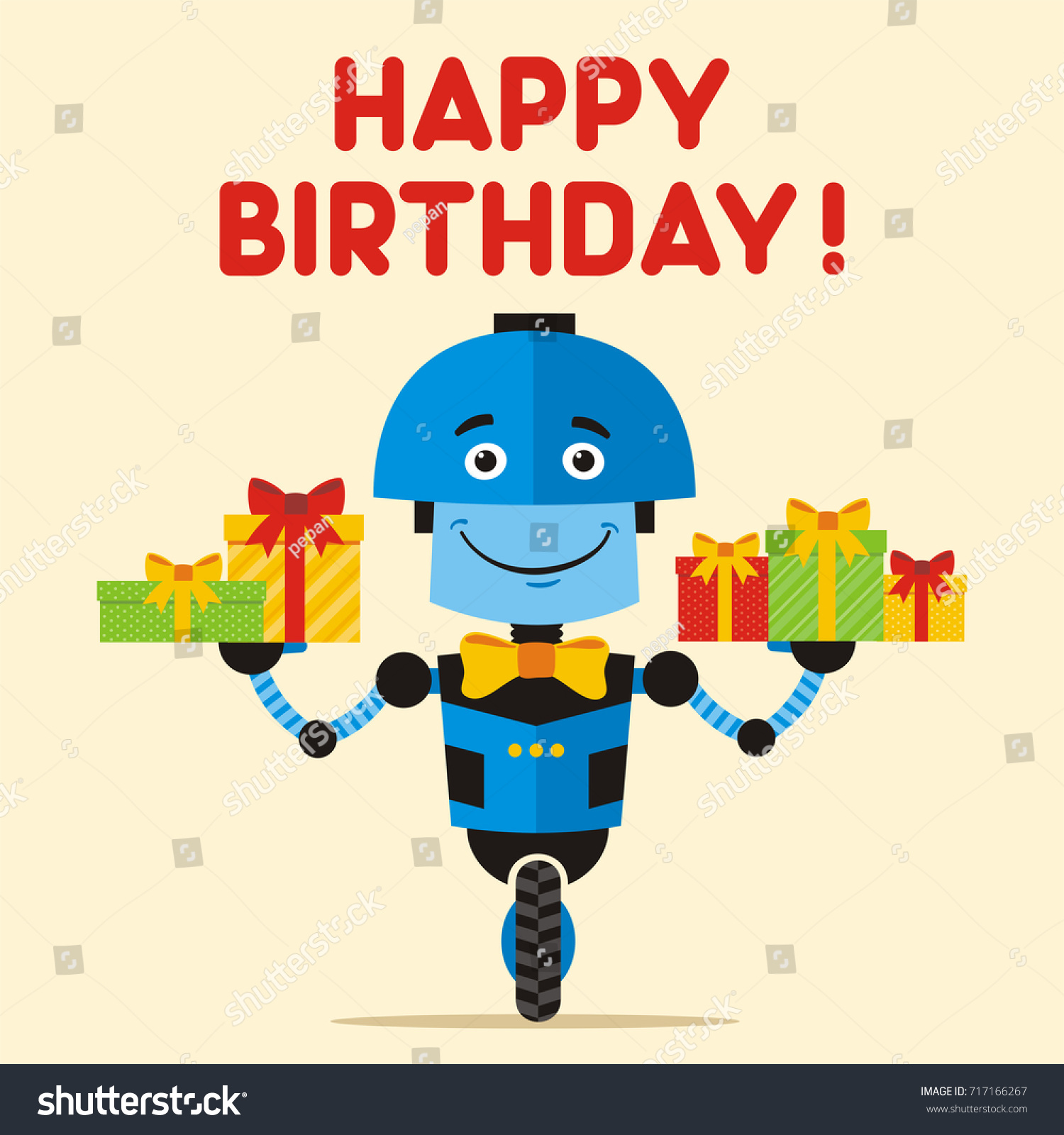 Happy Birthday Greeting Card Banner Blue Stock Vector