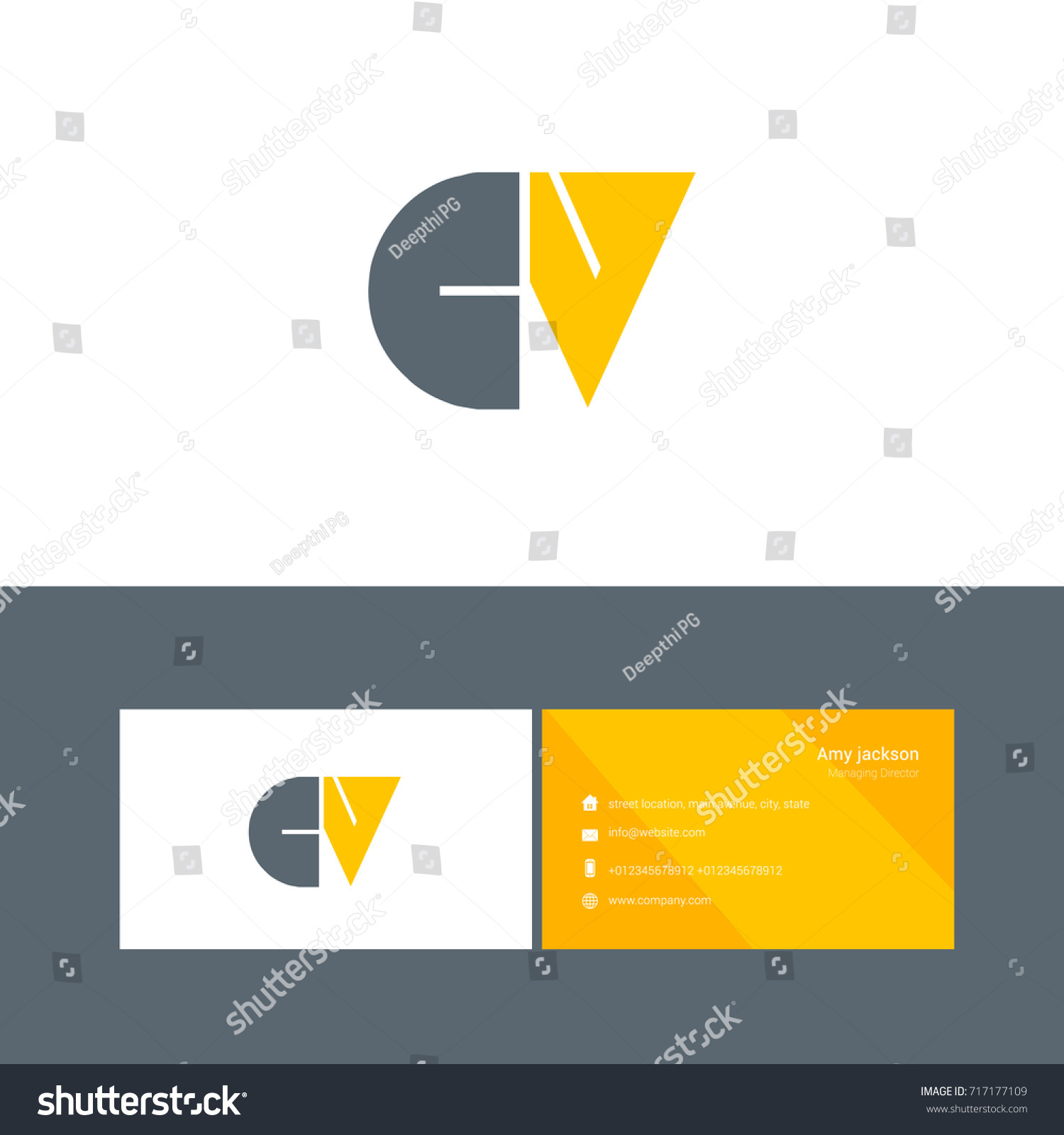 C V Joint Logo Bold Letter Stock Vector Royalty Free 717177109 Cv Diagram Design With Business Card Template