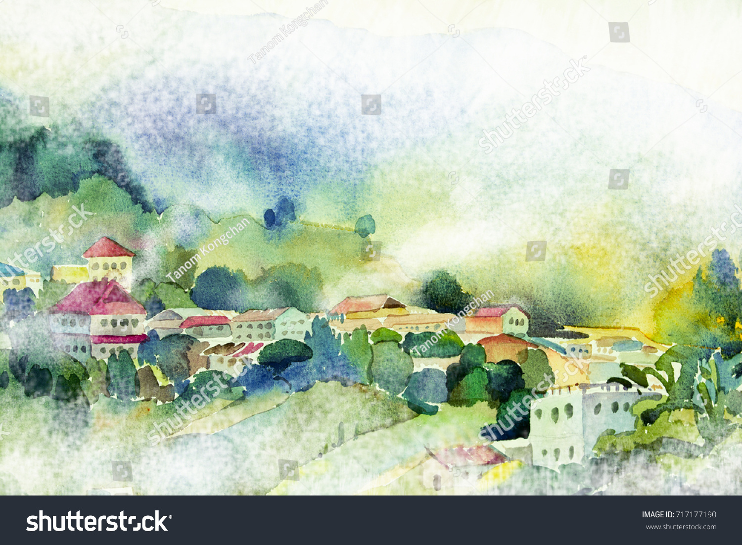 Colorful Cottages Painting