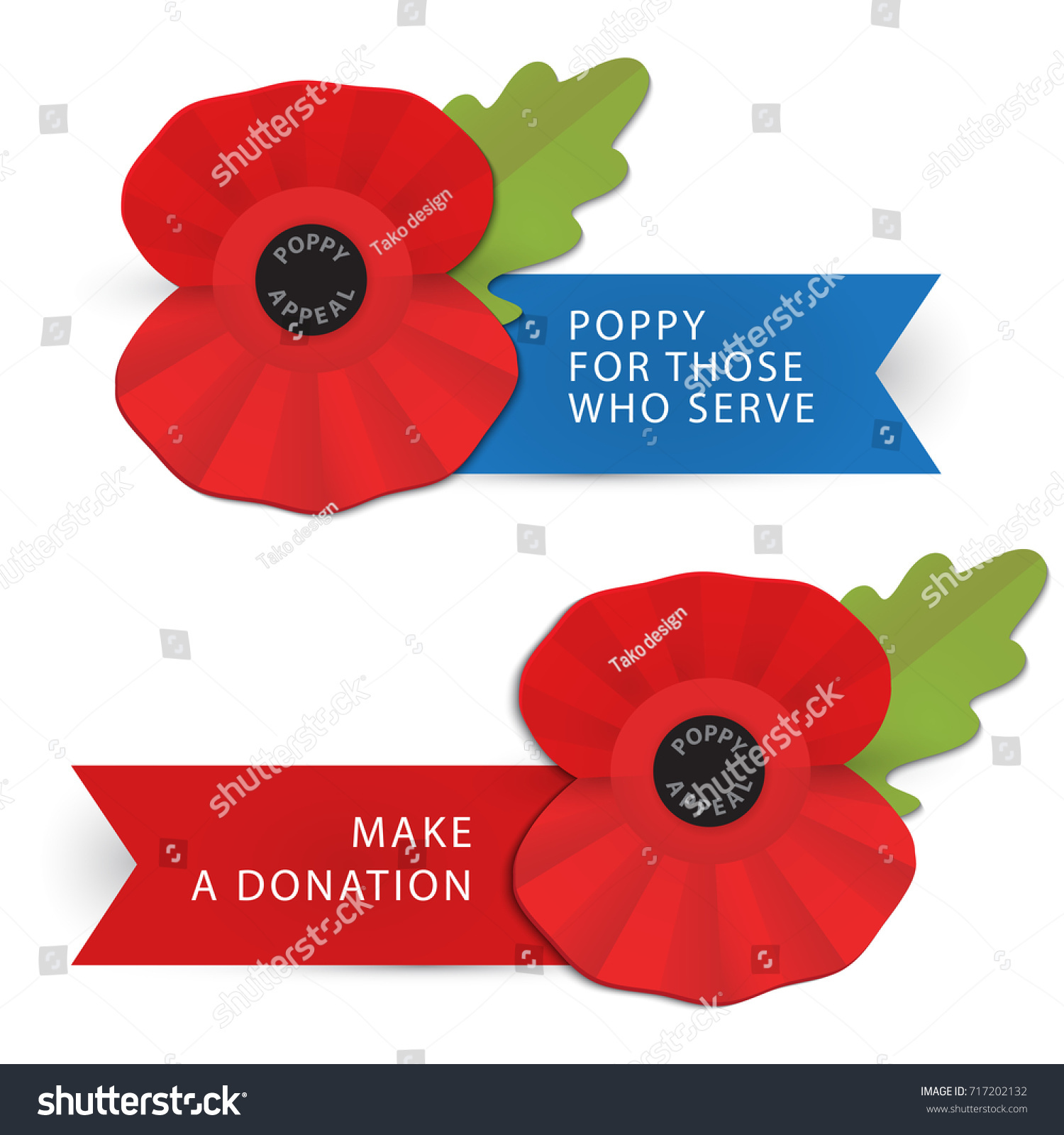 Remembrance Poppy Poppy Appeal Modern Paper Stock Vector Royalty