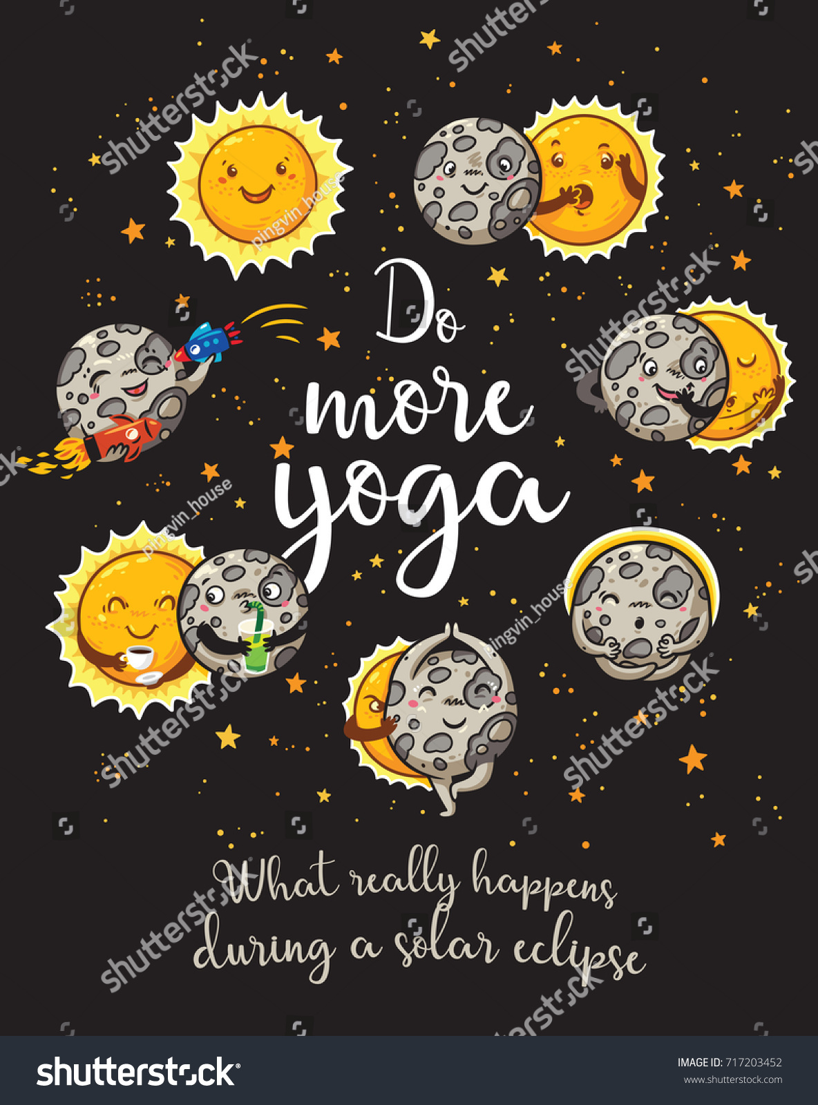Sun And Moon Quotes Do More Yoga Quote Card Hand Stock Vector 717203452  Shutterstock
