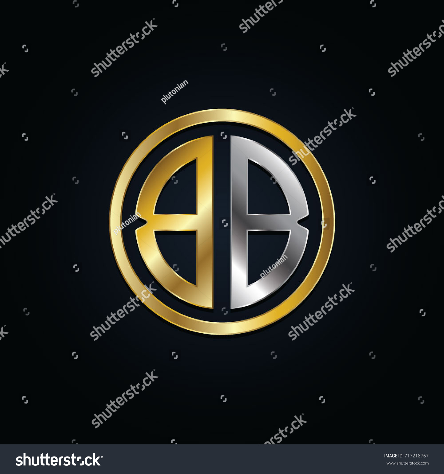Elegant Silver Gold Bb Later Logo Stock Vector Royalty Free