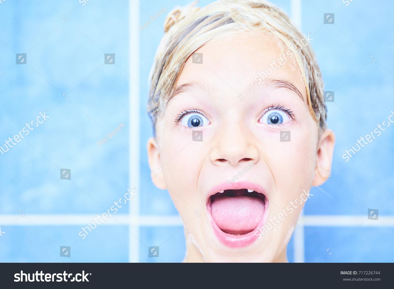 Child Girl Screaming Bath Adorable Child Stock Photo (100% Legal ...
