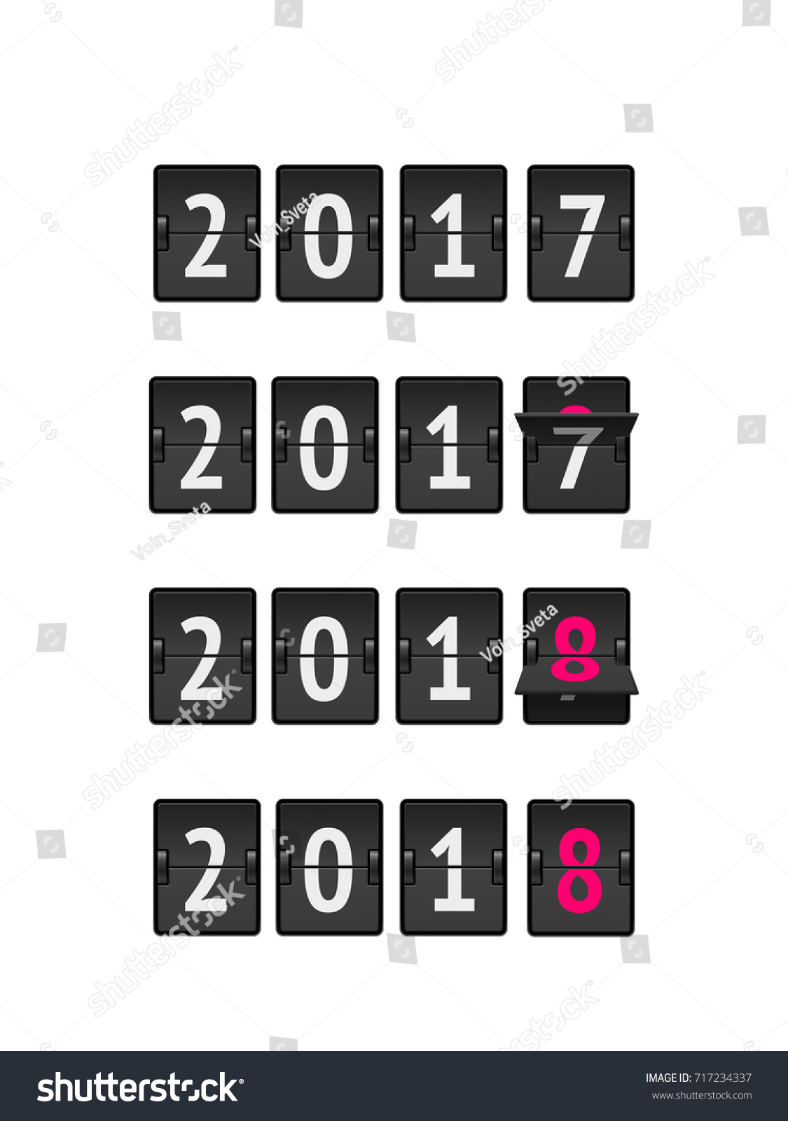 new year concept analog countdown from 2017 to 2018 year isolated on white background